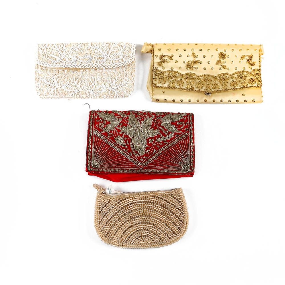 Vintage Evening Bags Featuring Starlite Metalwork Embroidery and Beading