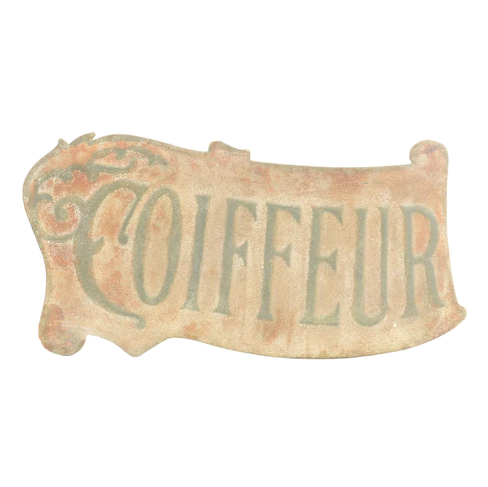 "Pressed Metal ""Coiffeur"" Hairdresser Sign"