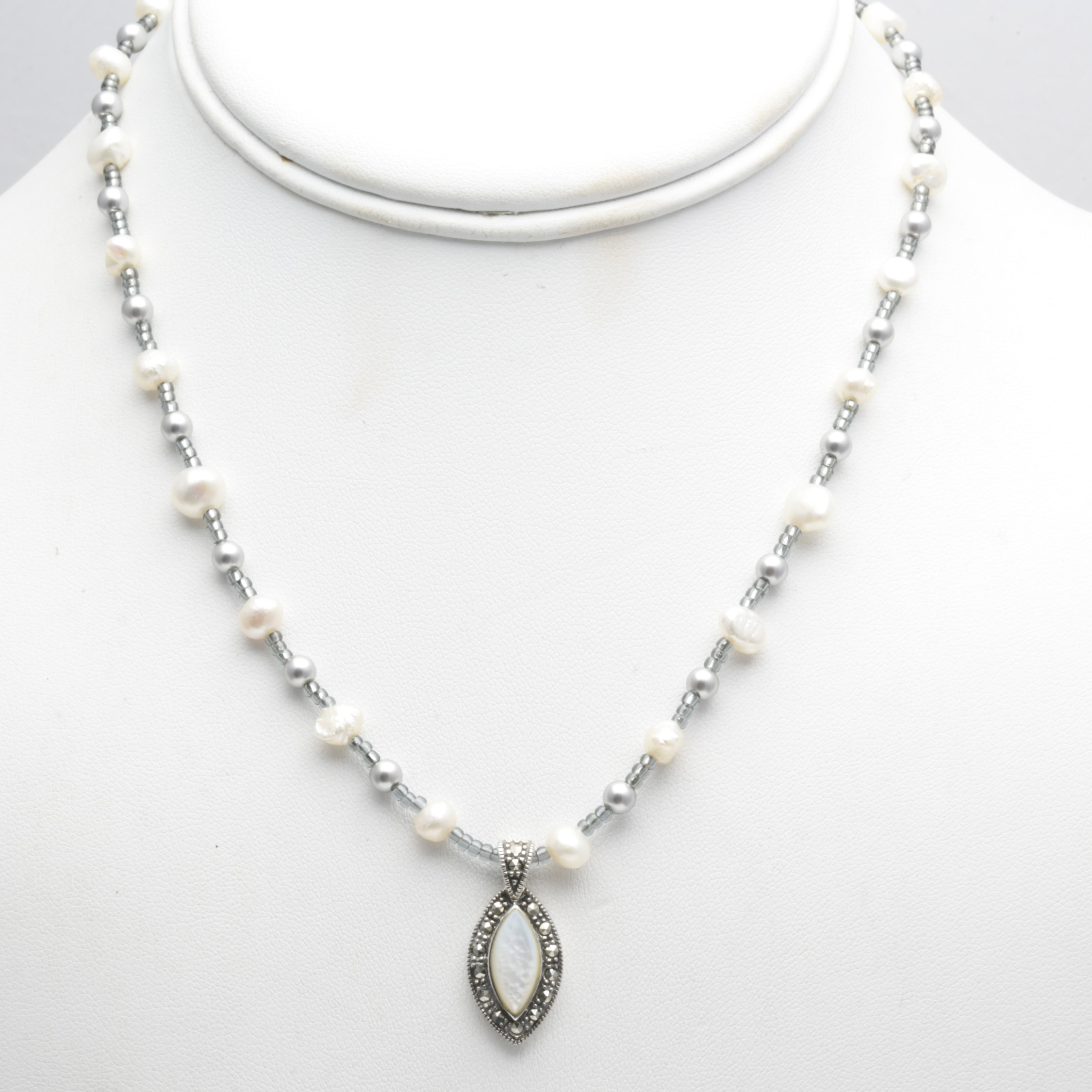 Vintage Collection Of Vintage Pearl Necklaces Including Silver, Mother of Pearl,