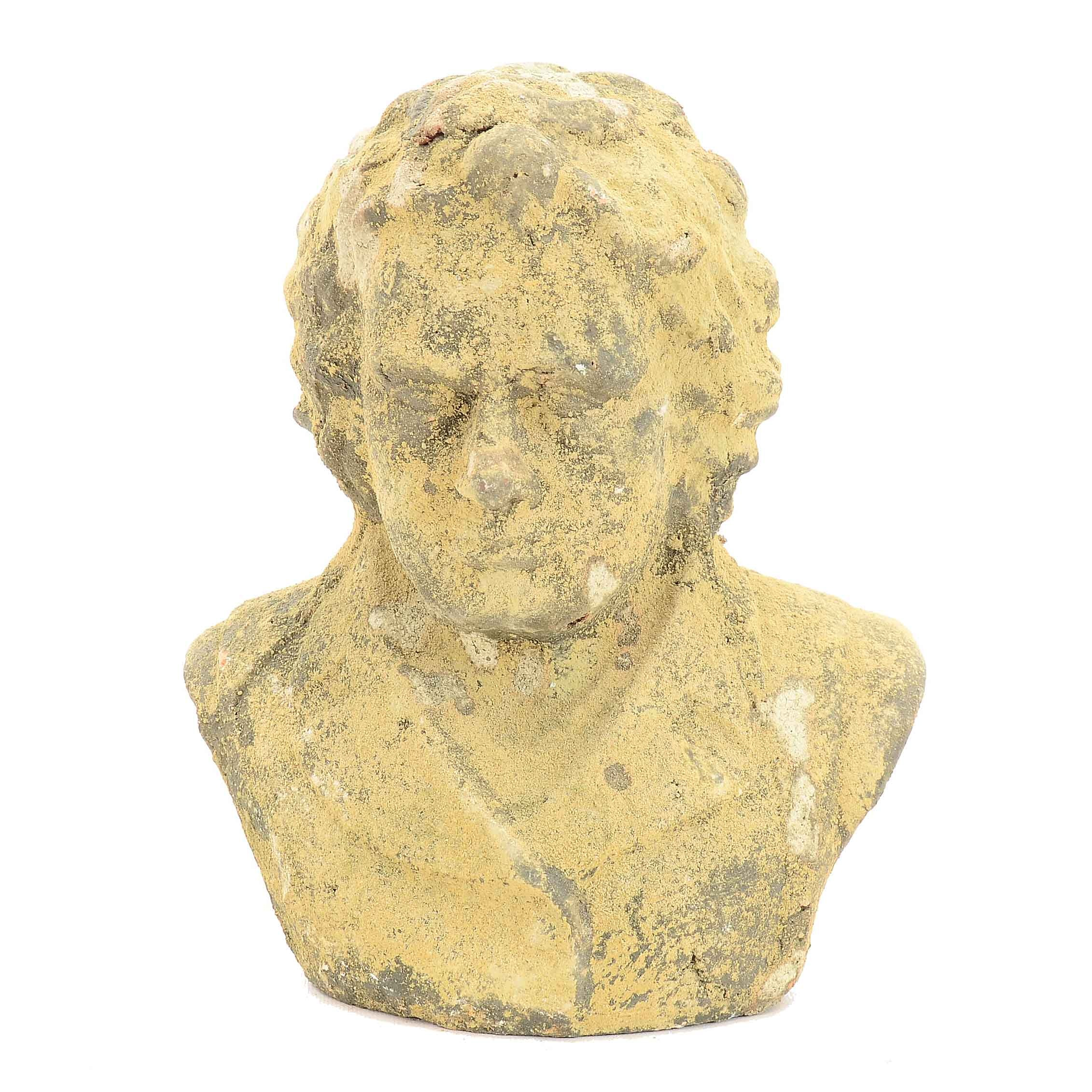 Antiqued Ceramic Bust of Beethoven