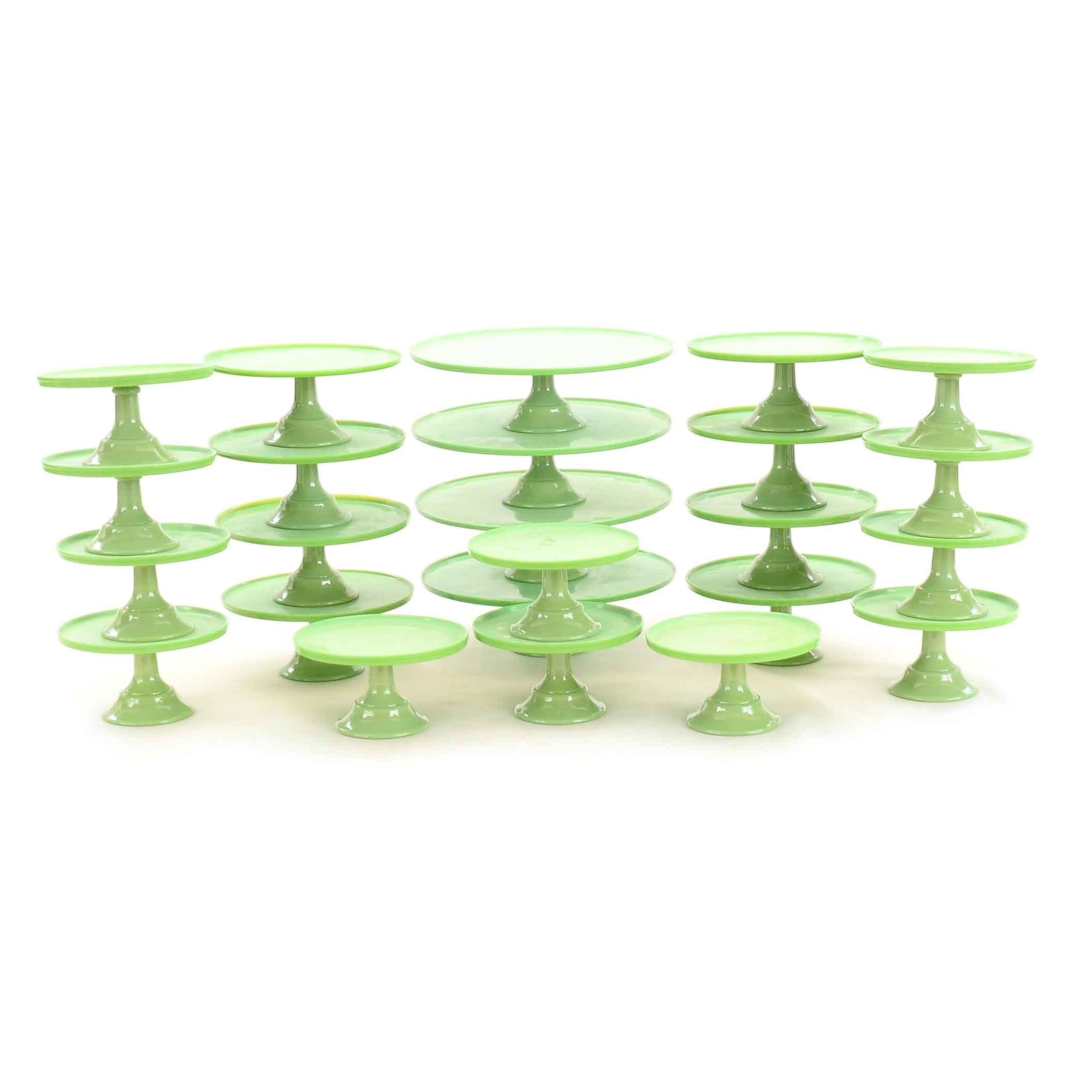 Green Milk Glass Pedestal Cake Stands