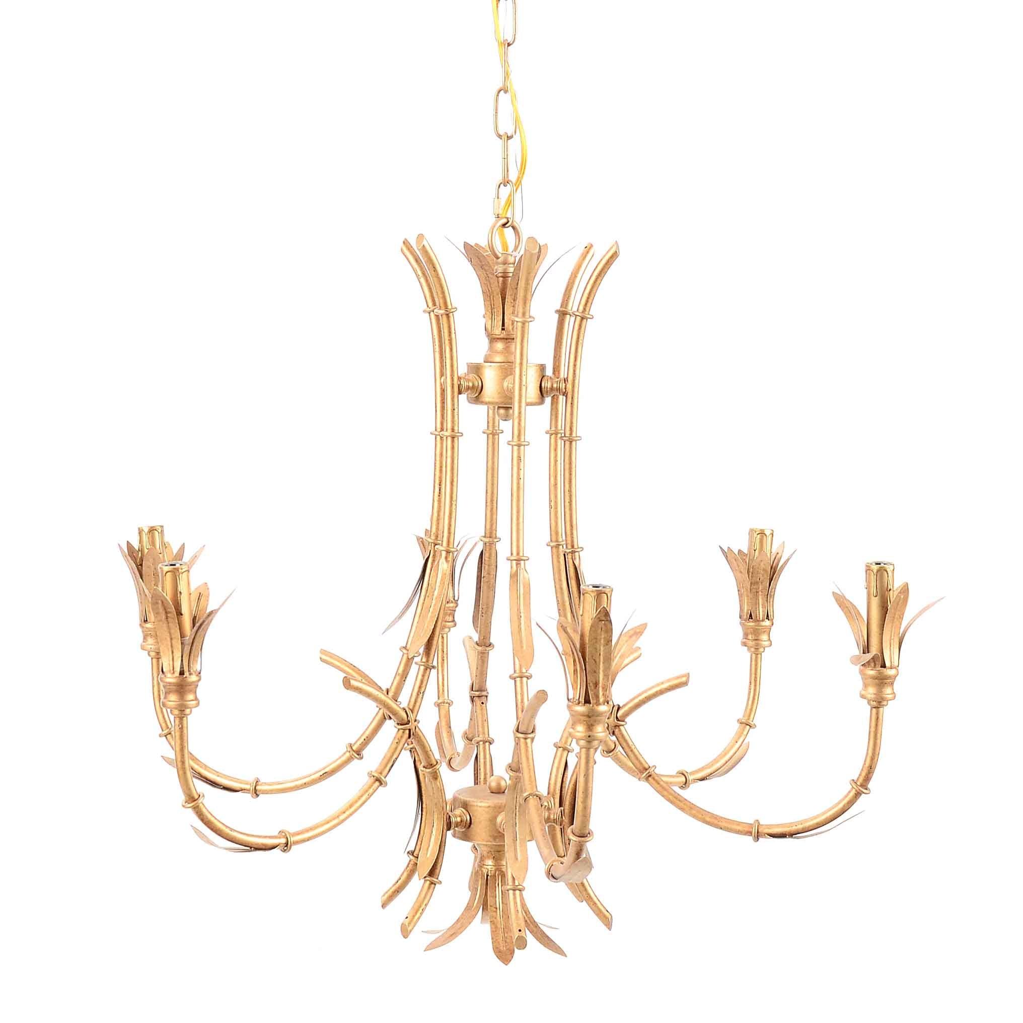 Tole Bamboo Motif Gold Tone Metal Chandelier