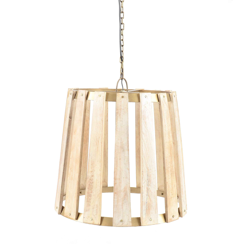 Large Metal and Wood Pendant Light
