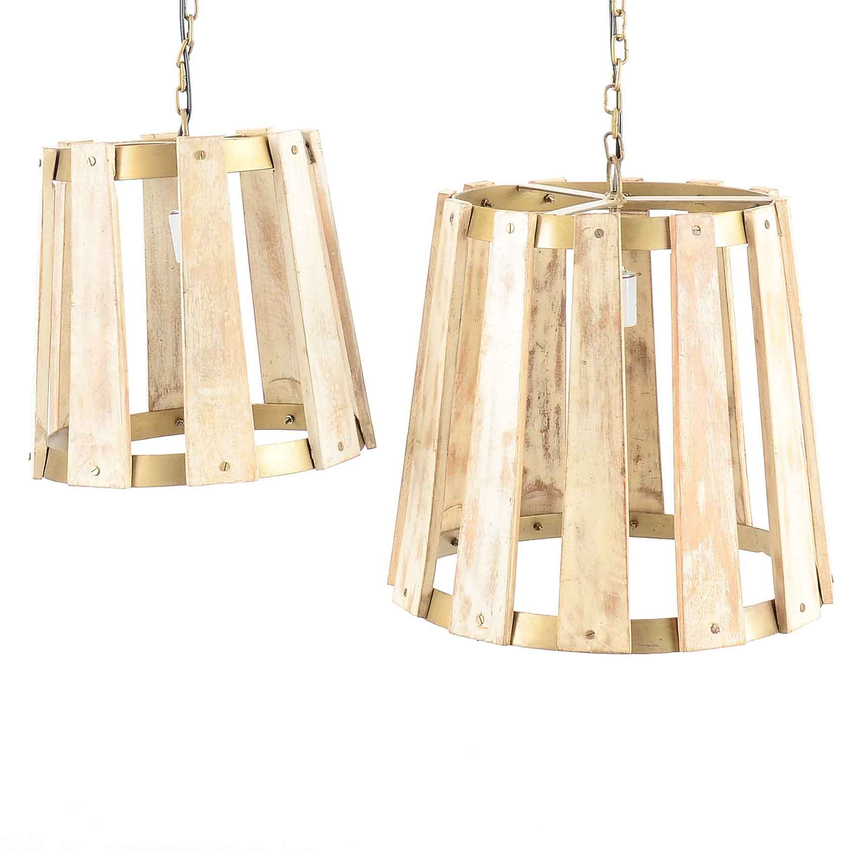 Pair of Wood and Metal Pendant Lights