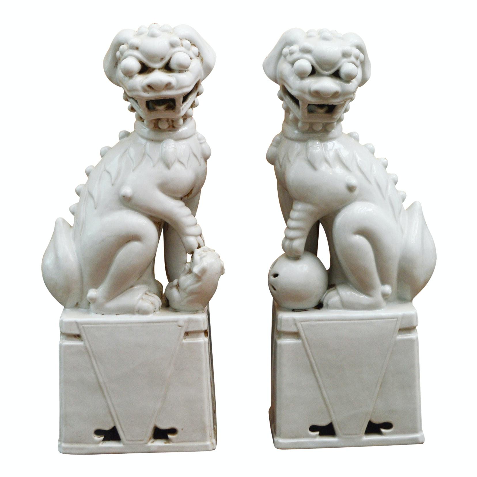 Pair of Ceramic Guardian Lions