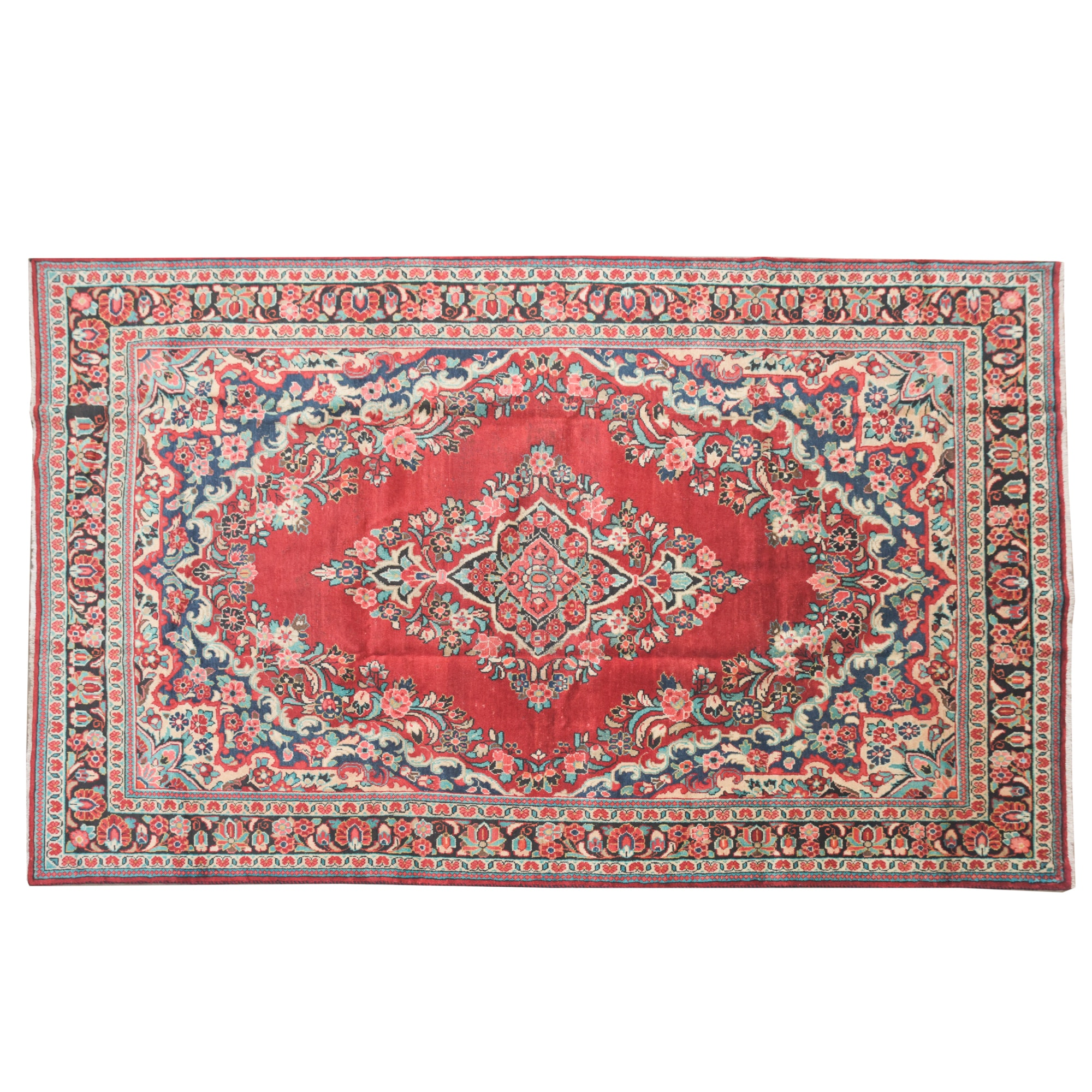 Hand-Knotted Persian Kashan Wool Area Rug