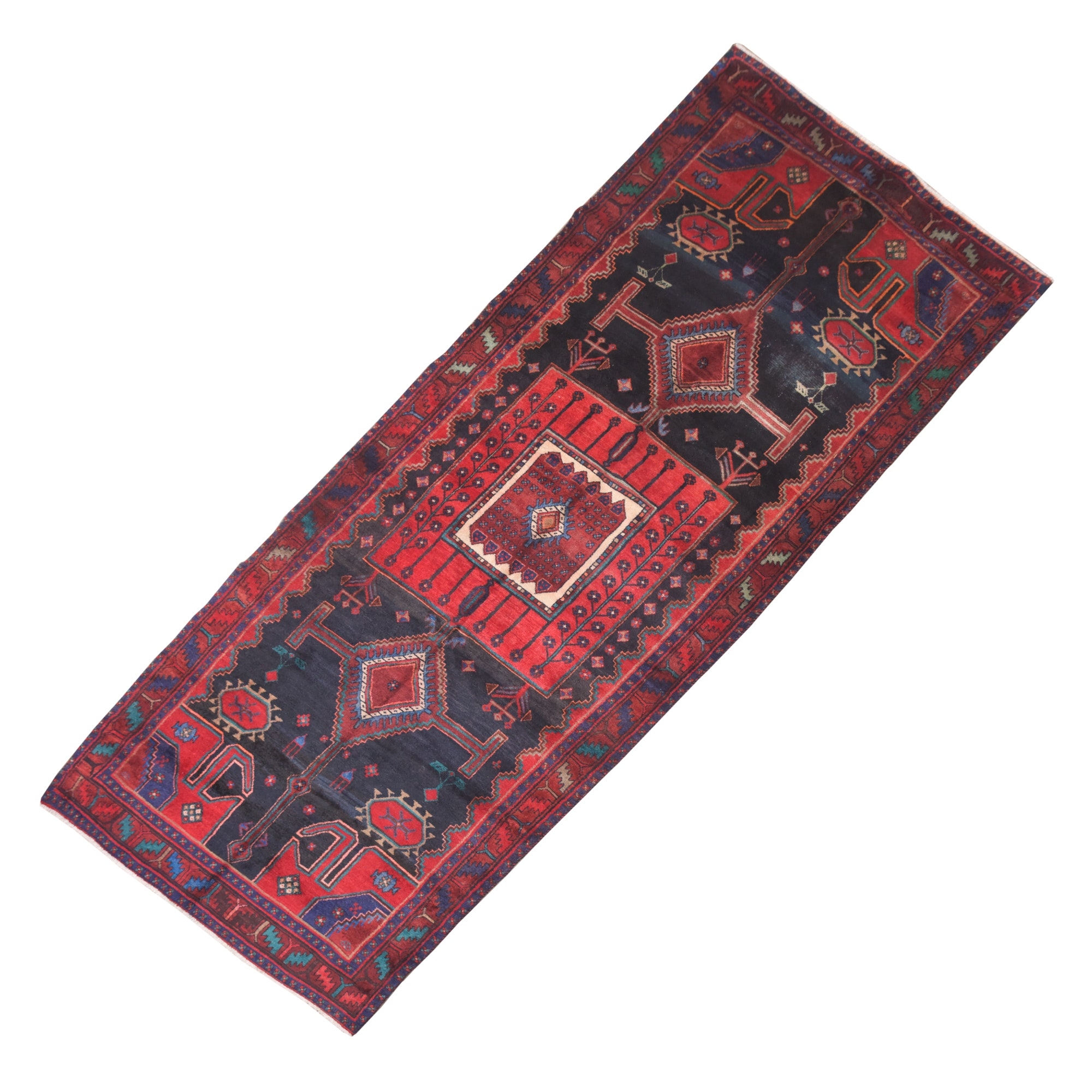 Hand-Knotted Persian Hamadan Wool Long Rug