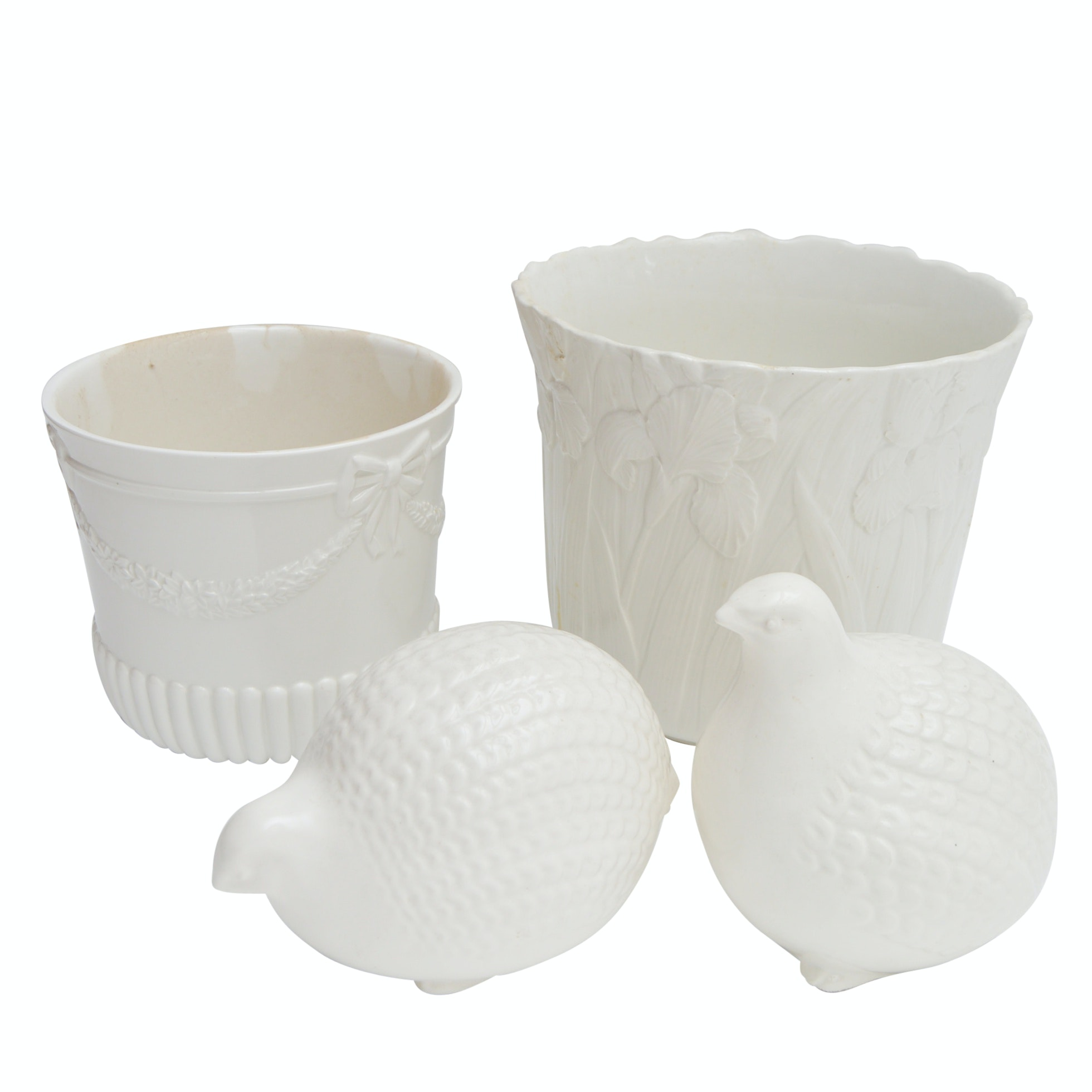 White Ceramic Planters and Quail Figurines