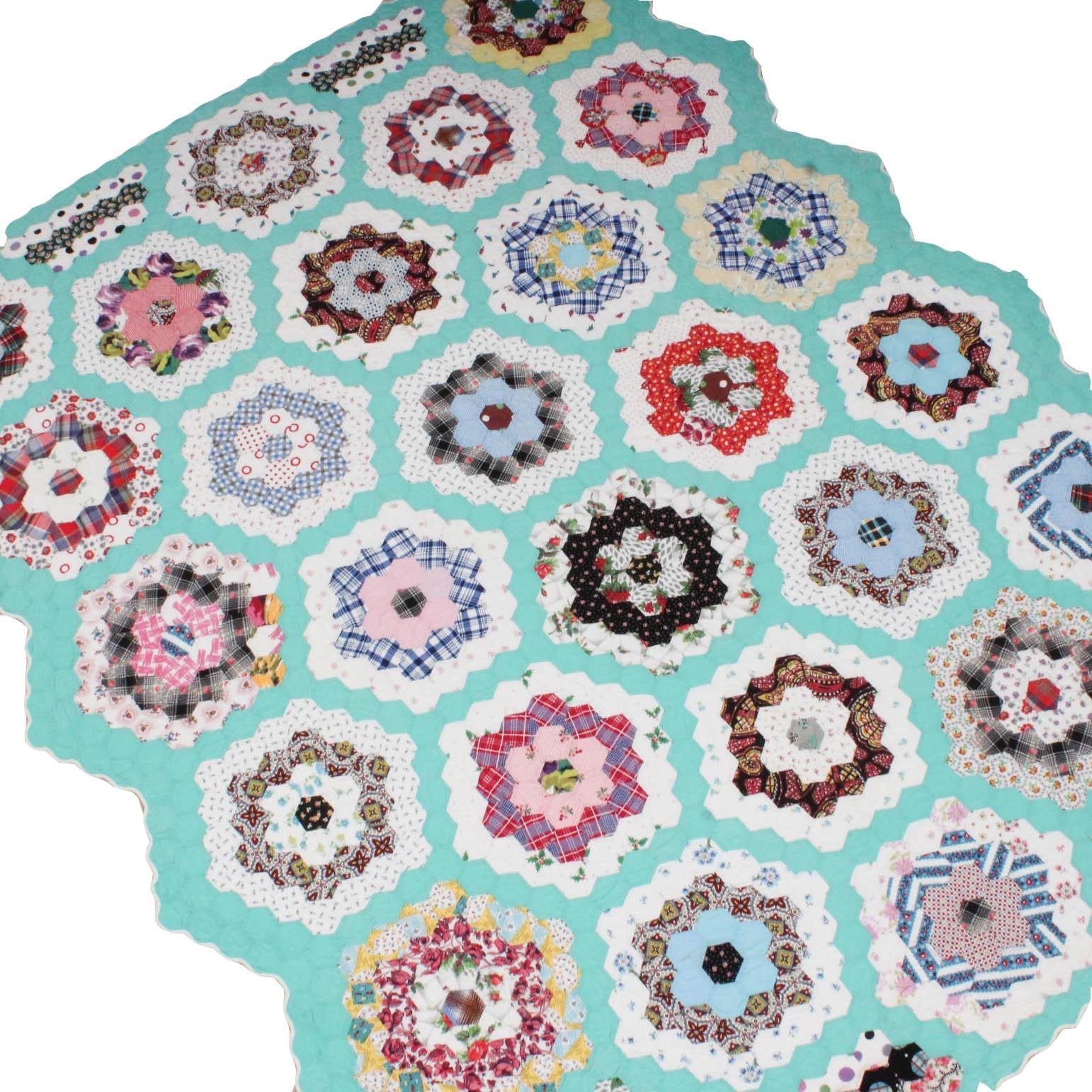 "Vintage Handmade ""Grandmother's Flower Garden"" Quilt"