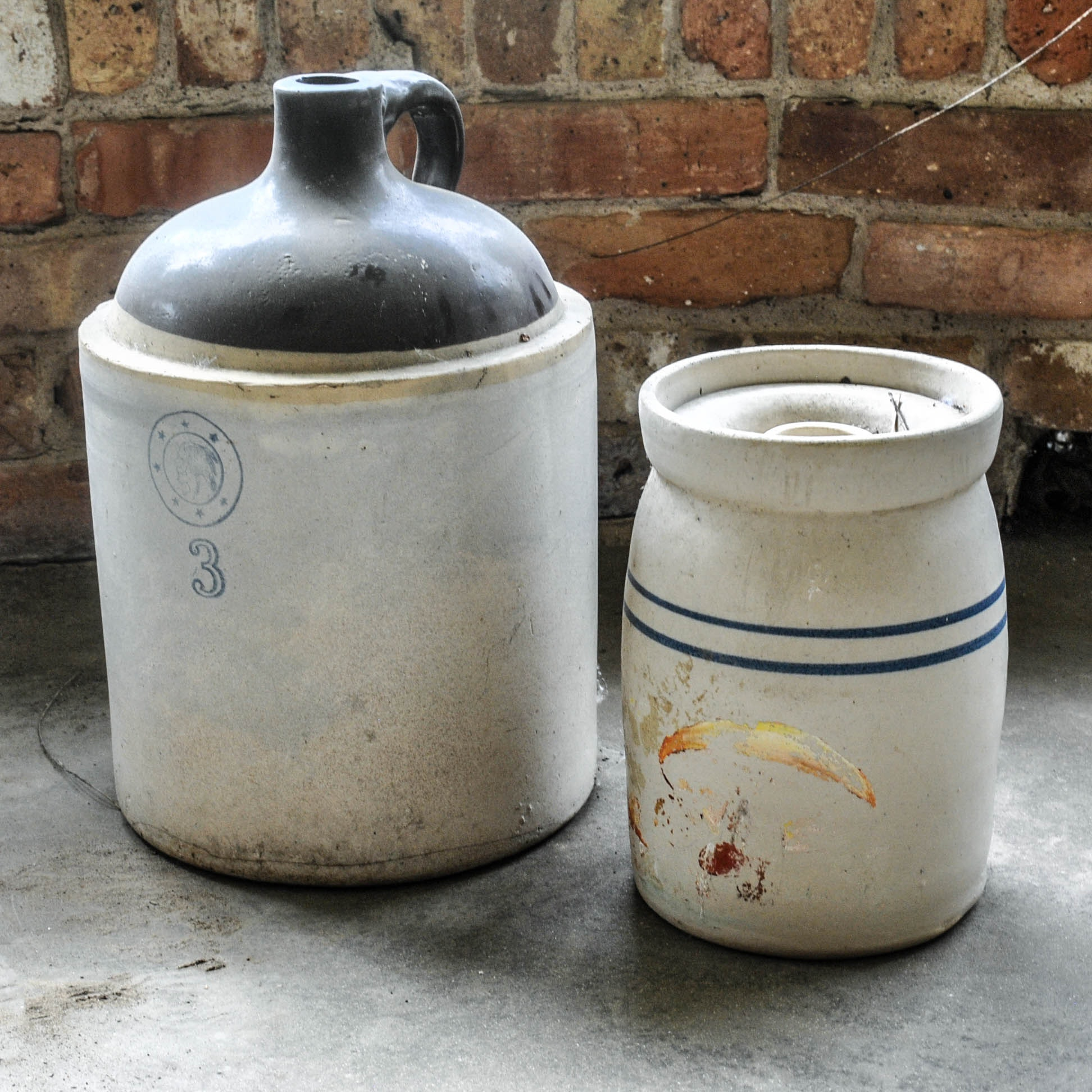 Vintage Louisville Pottery Stoneware Jug and Butter Churn Crock