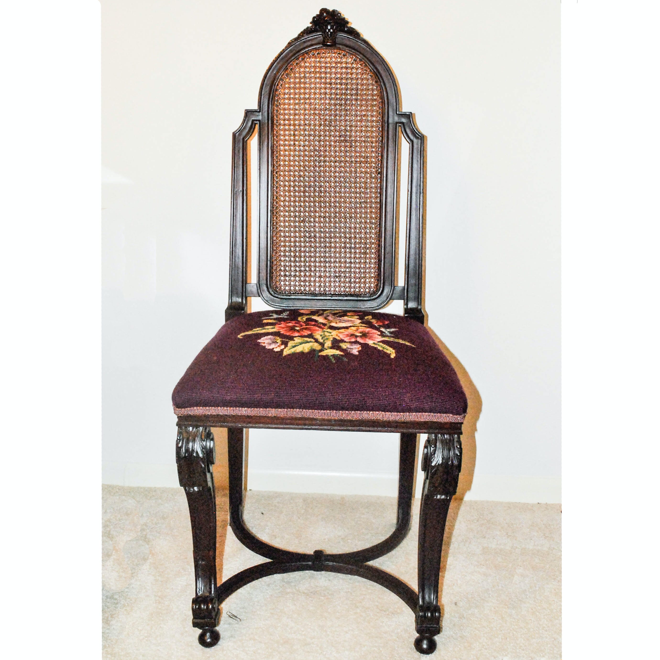 Cane Back Needlepoint Side Chair