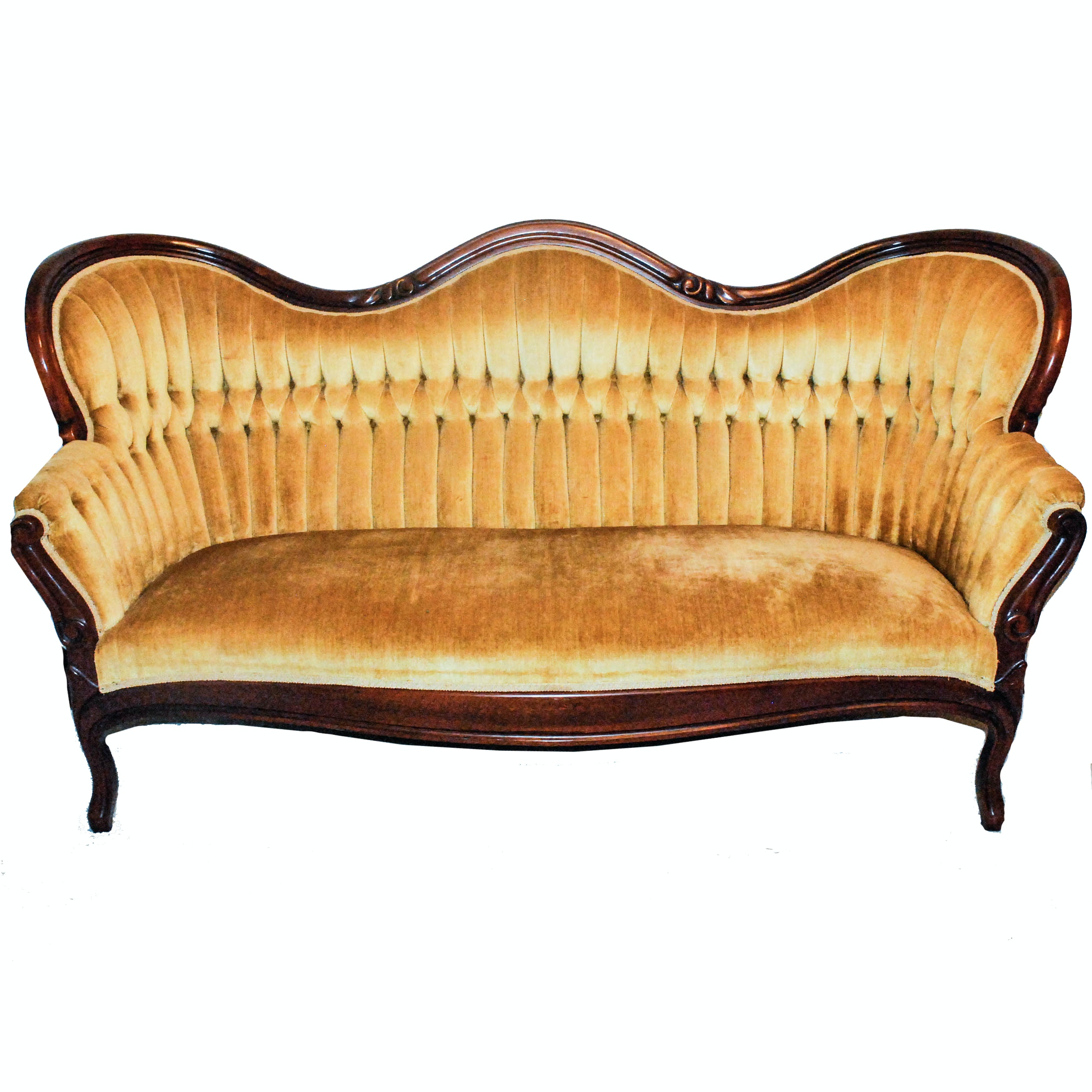 Golden Velour Upholstered Victorian Style Sofa
