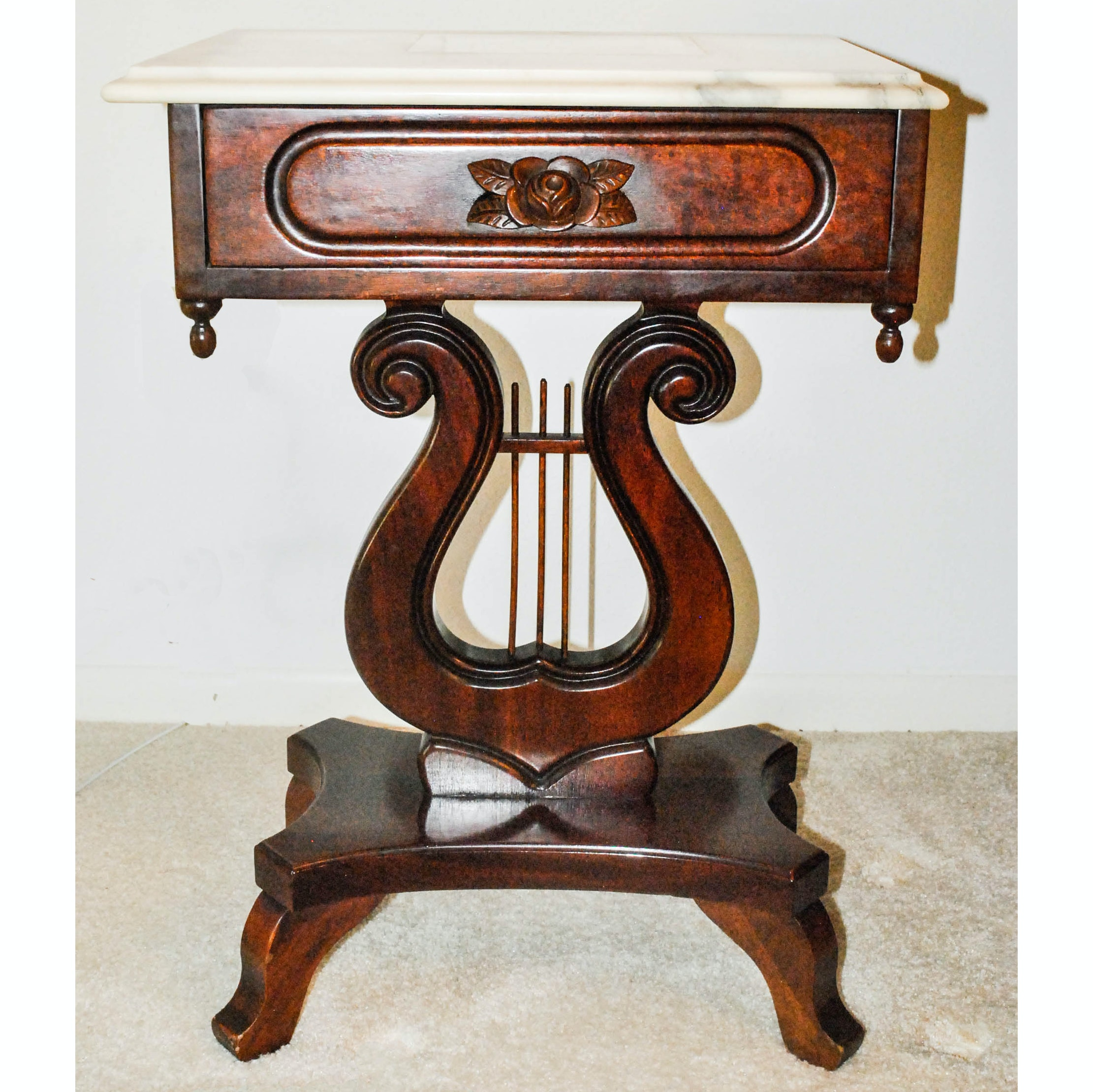 Stone Top Lyre Side Table