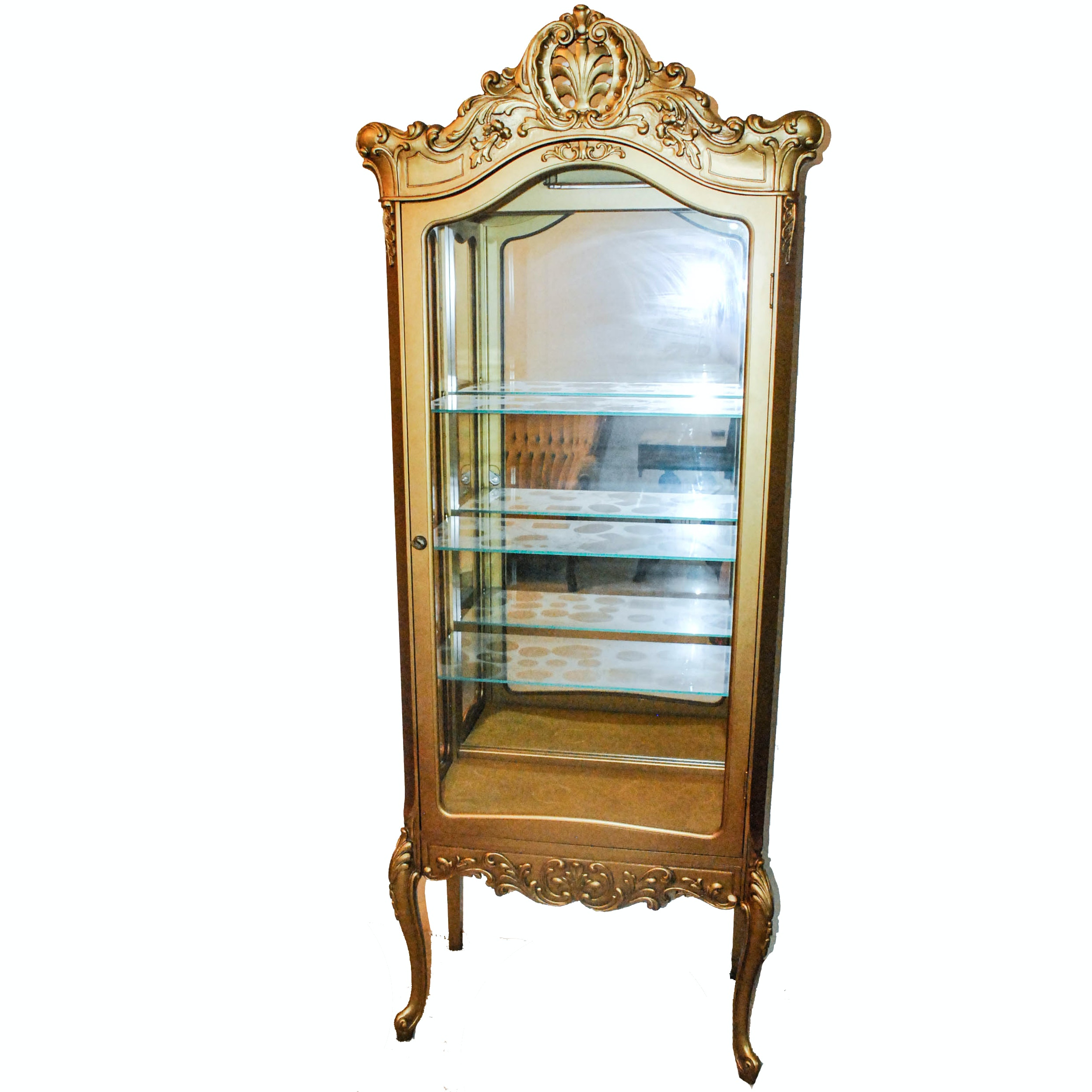 Golden Louis XV Style Curio Cabinet