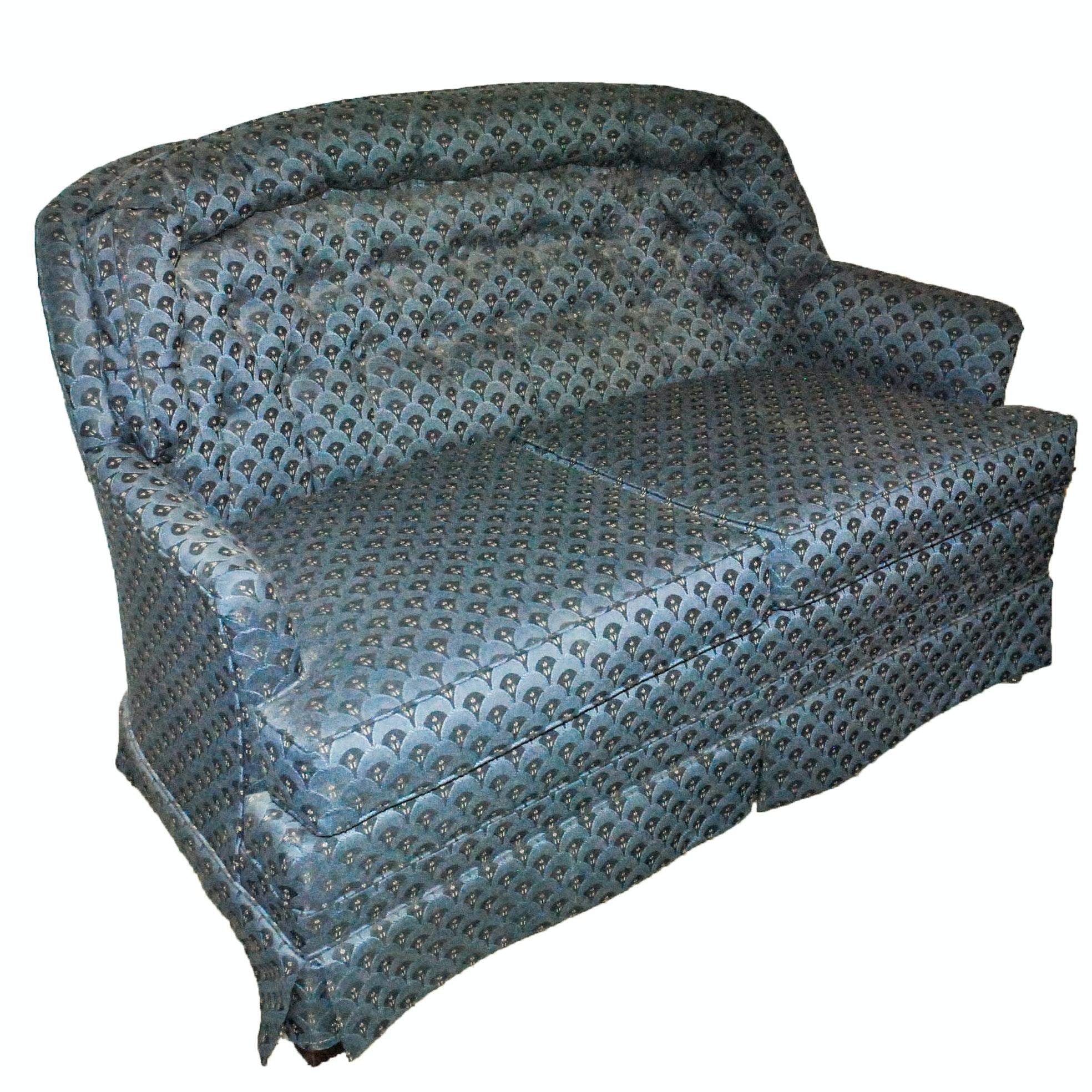 Blue Upholstered Loveseat
