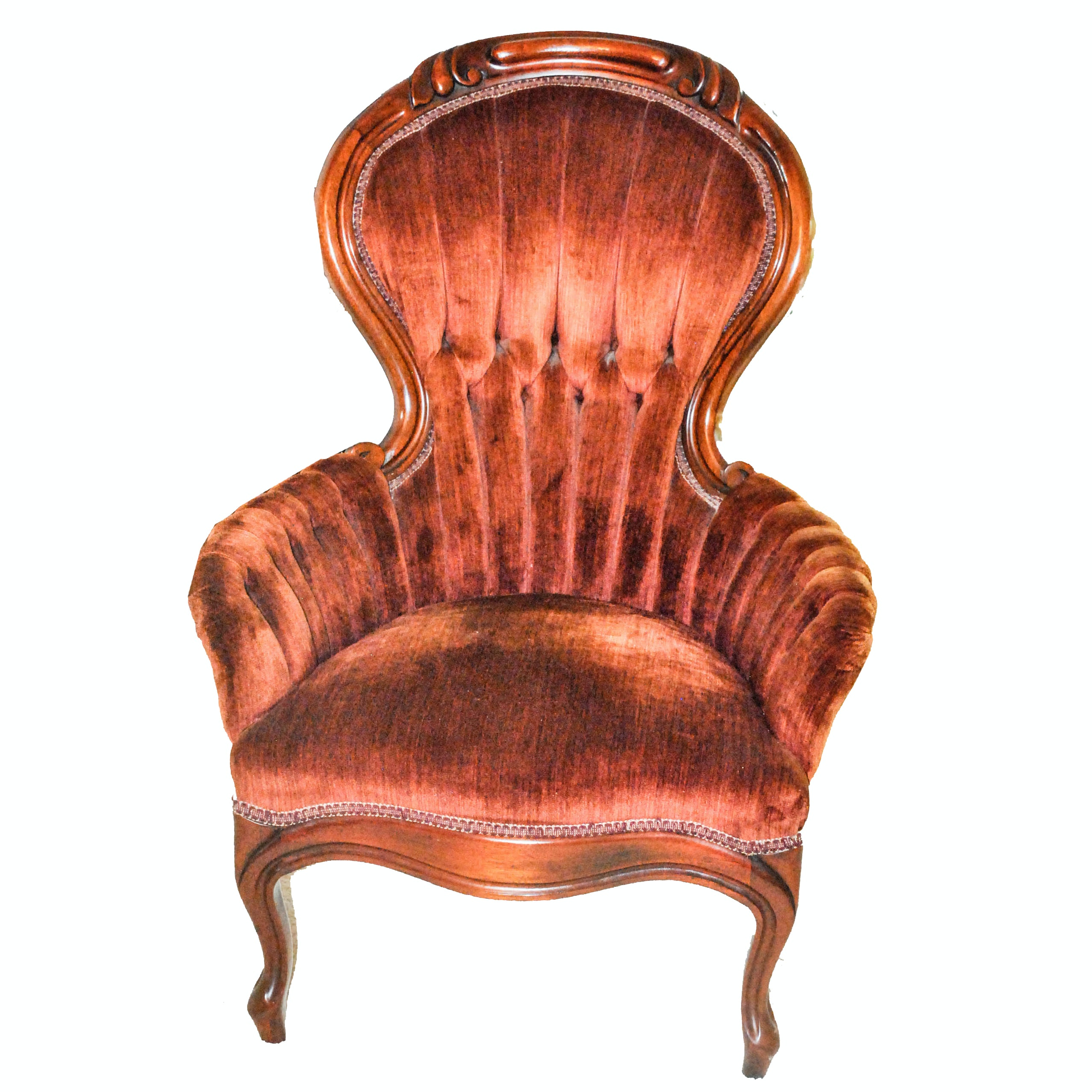 Vintage Victorian Style Upholstered Armchair by Carlton McLendon Furniture