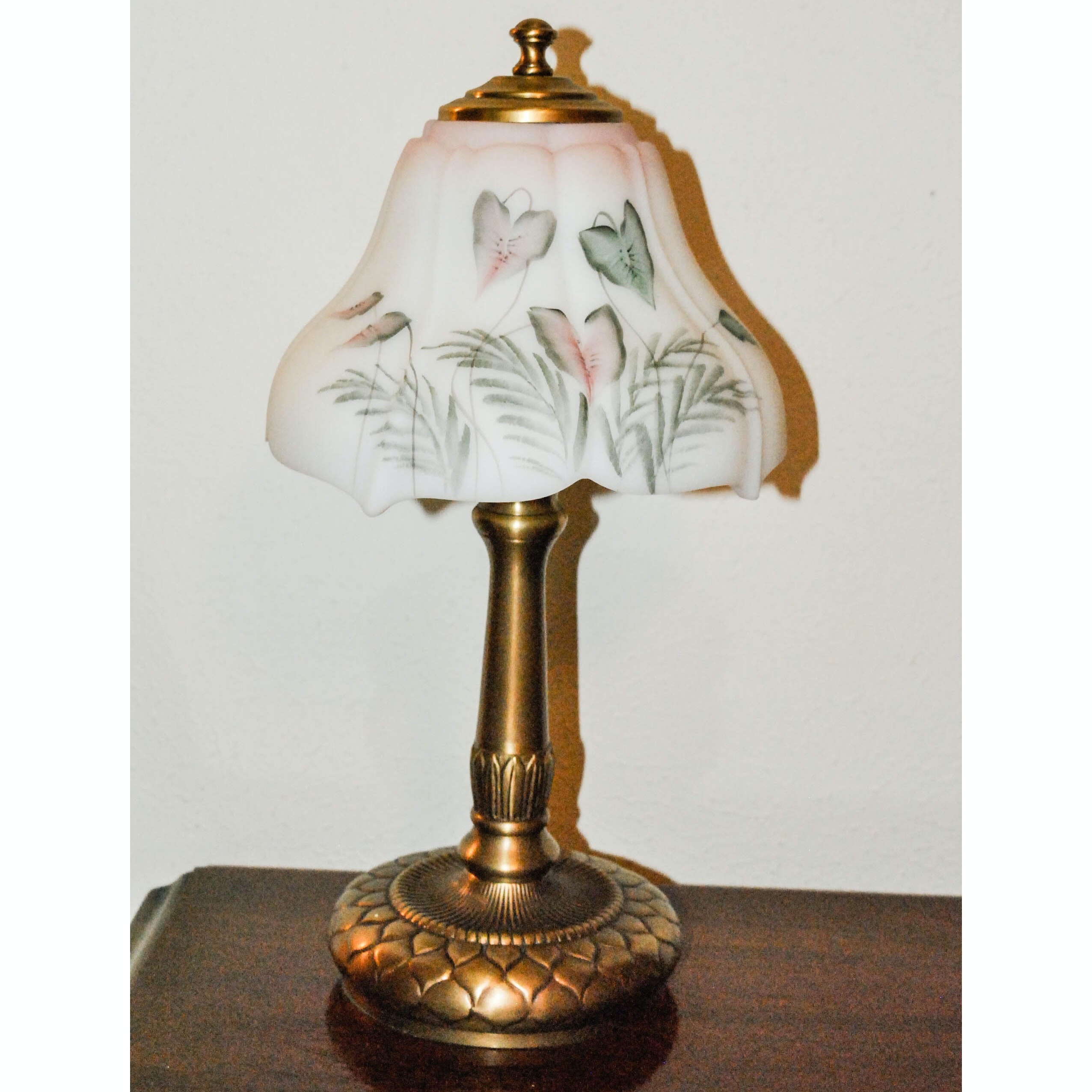 Gold Tone Metal Table Lamp With Painted Glass Shade