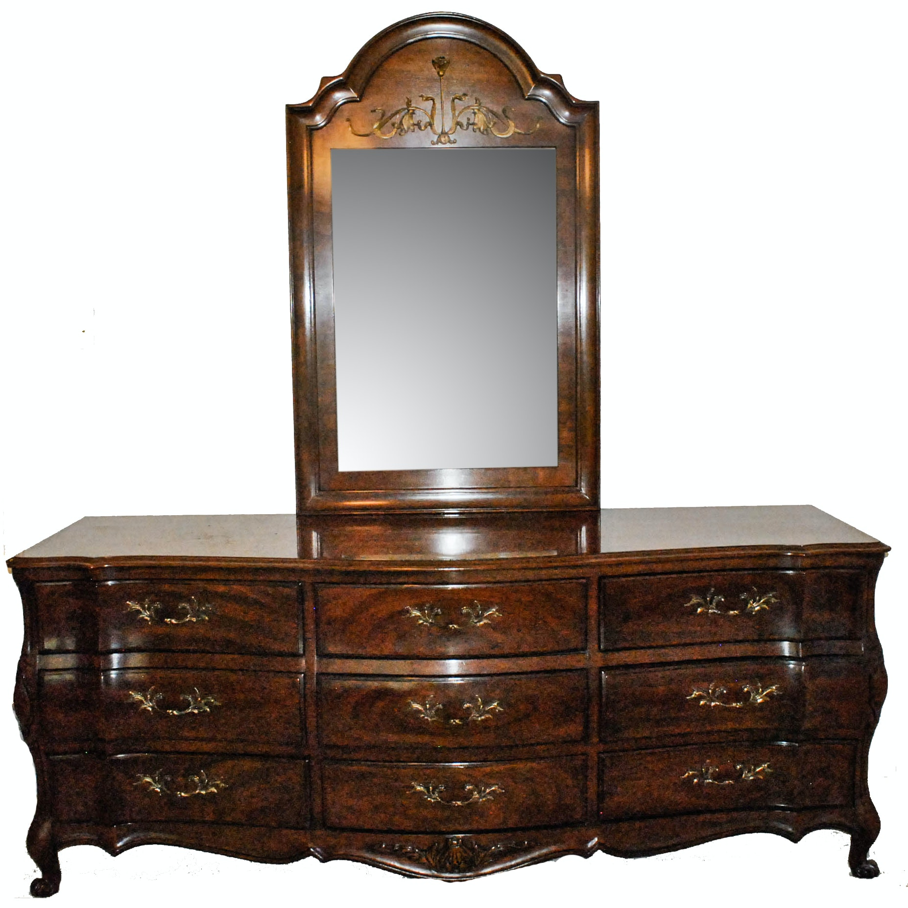 Vintage French Provincial Style Dresser with Mirror by White Furniture