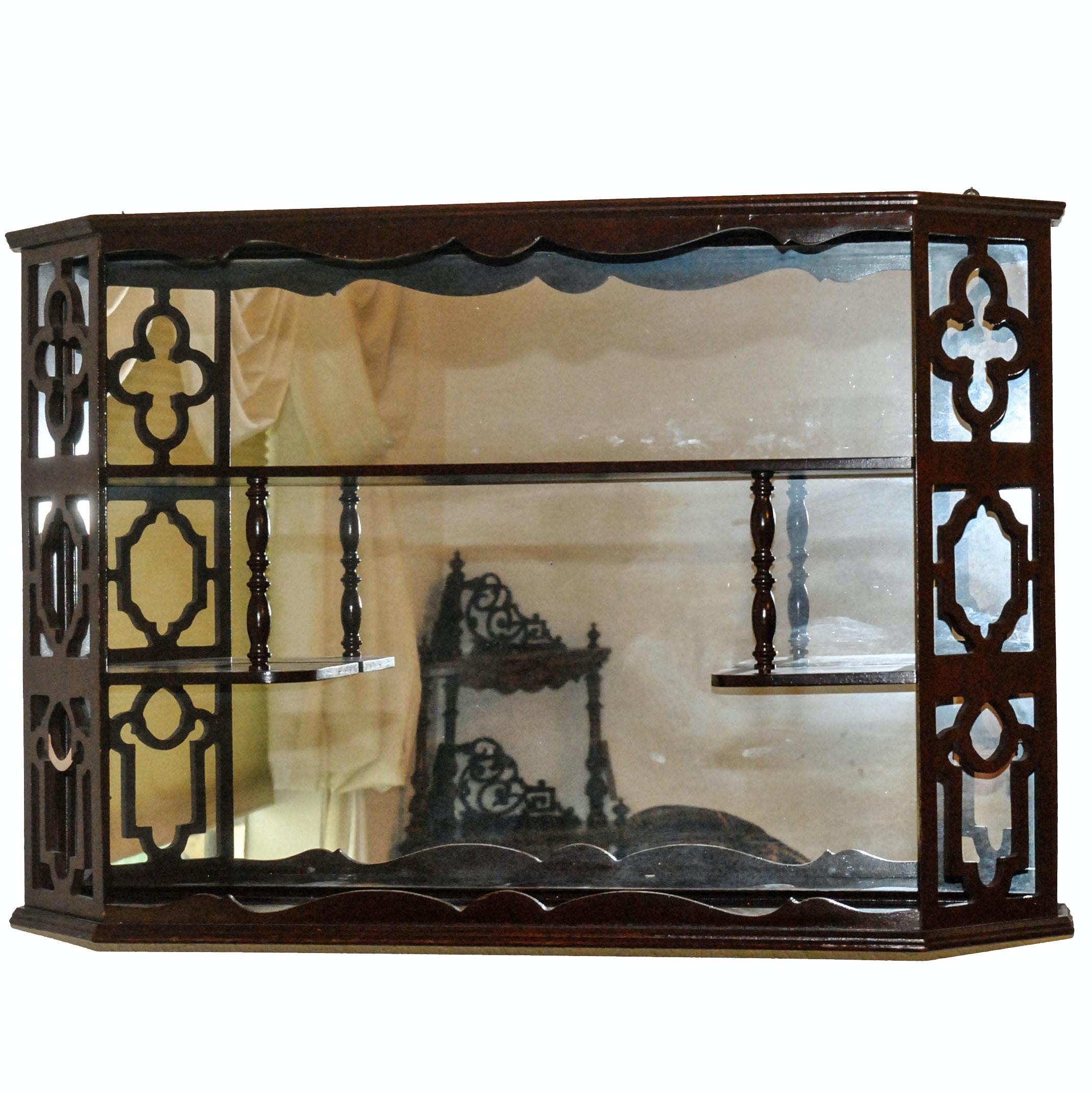 Vintage Wall Shelf With Mirrors