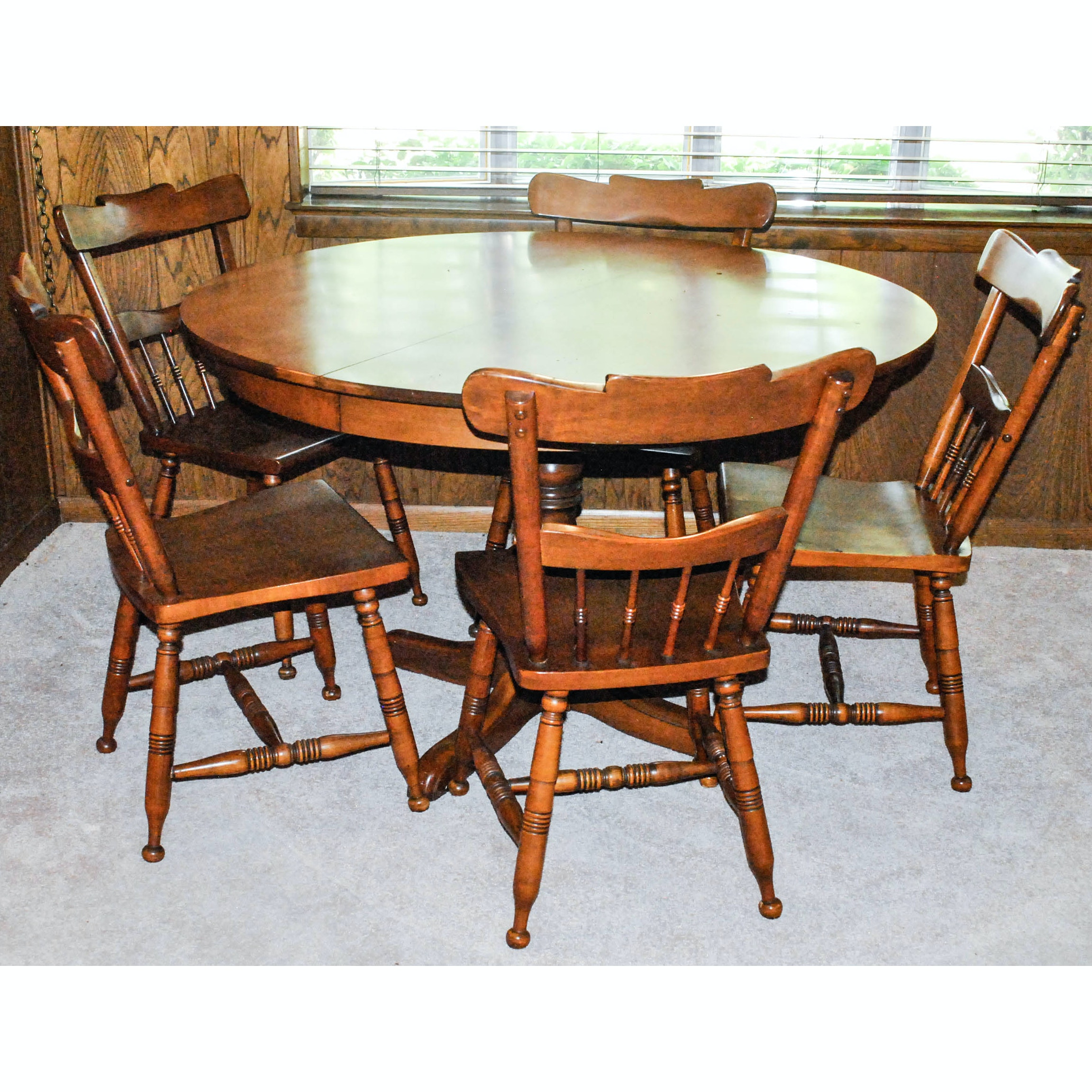 Pedestal Table and Five Windsor Style Chairs