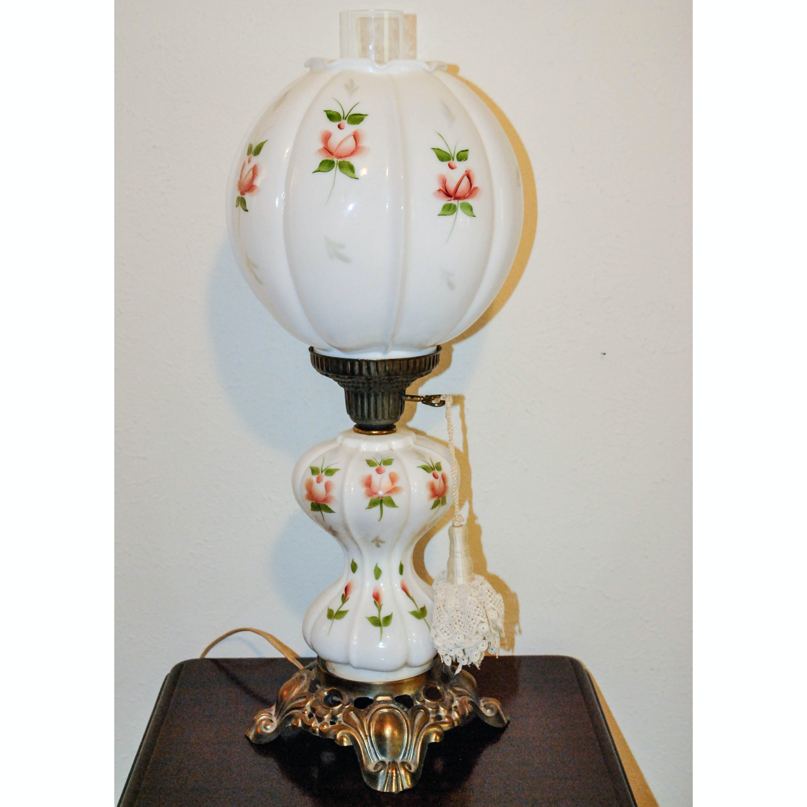 Hand-Painted Converted Glass and Metal Parlor Lamp With Rose Motif Decoration