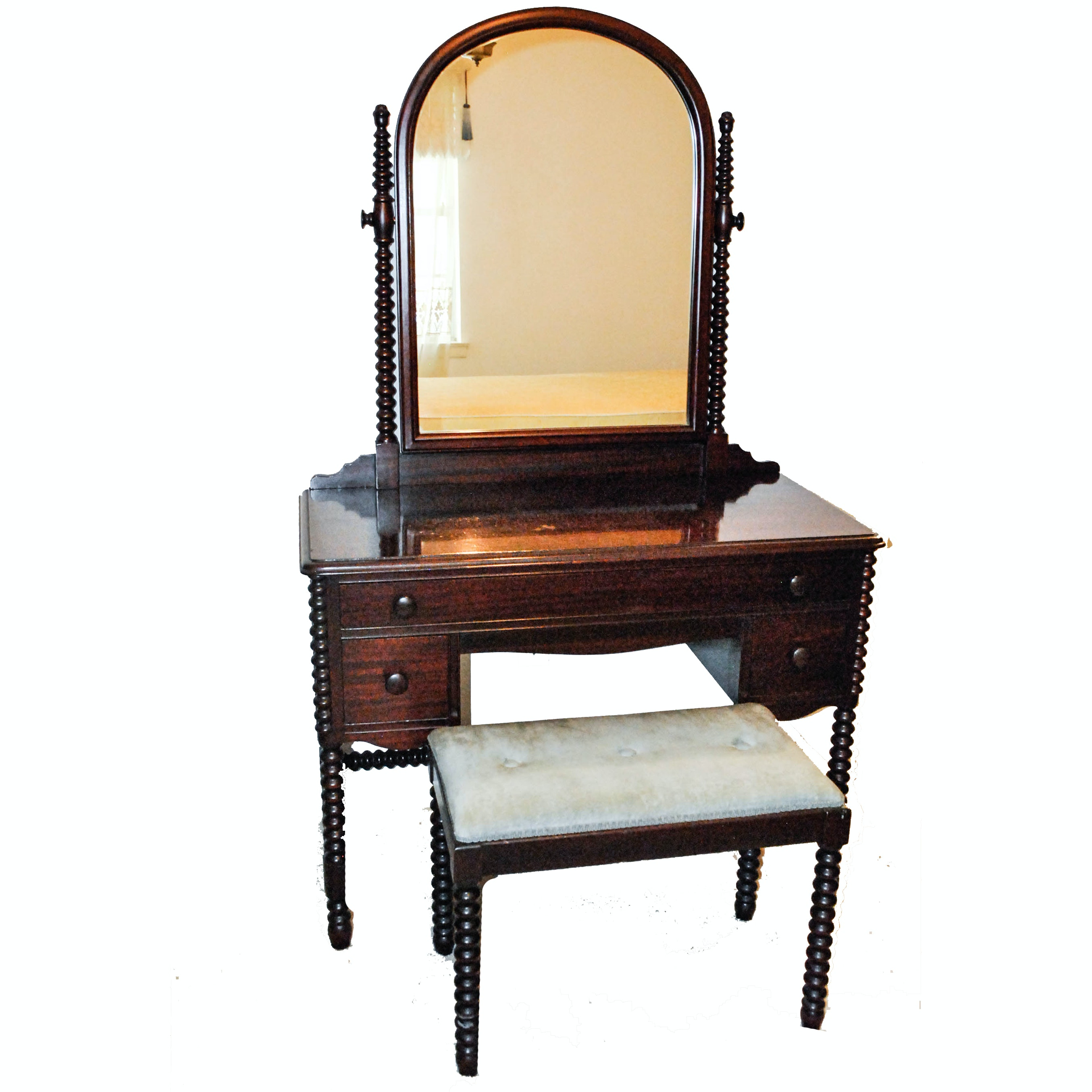 Bobbin Leg Vanity and Bench by Wheeler-Okell