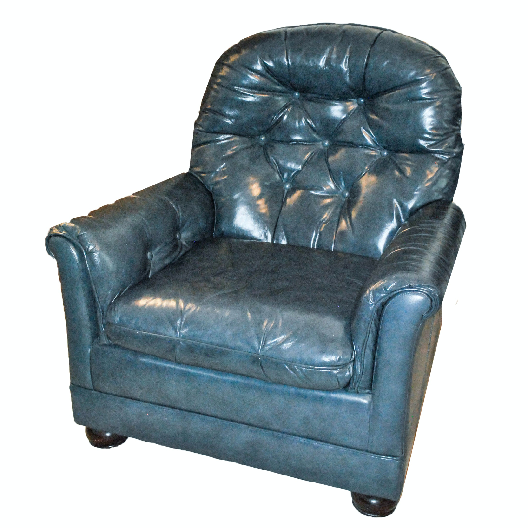 Vintage Blue Leather Armchair by Bradington Young