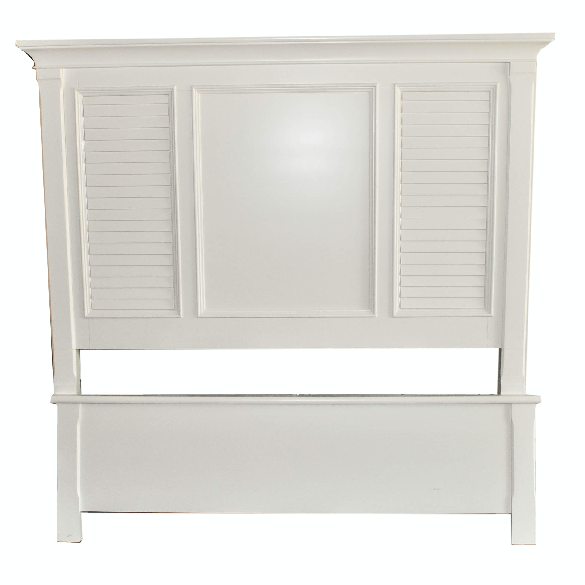 White Cape Cod Style Full Size Headboard and Footboard