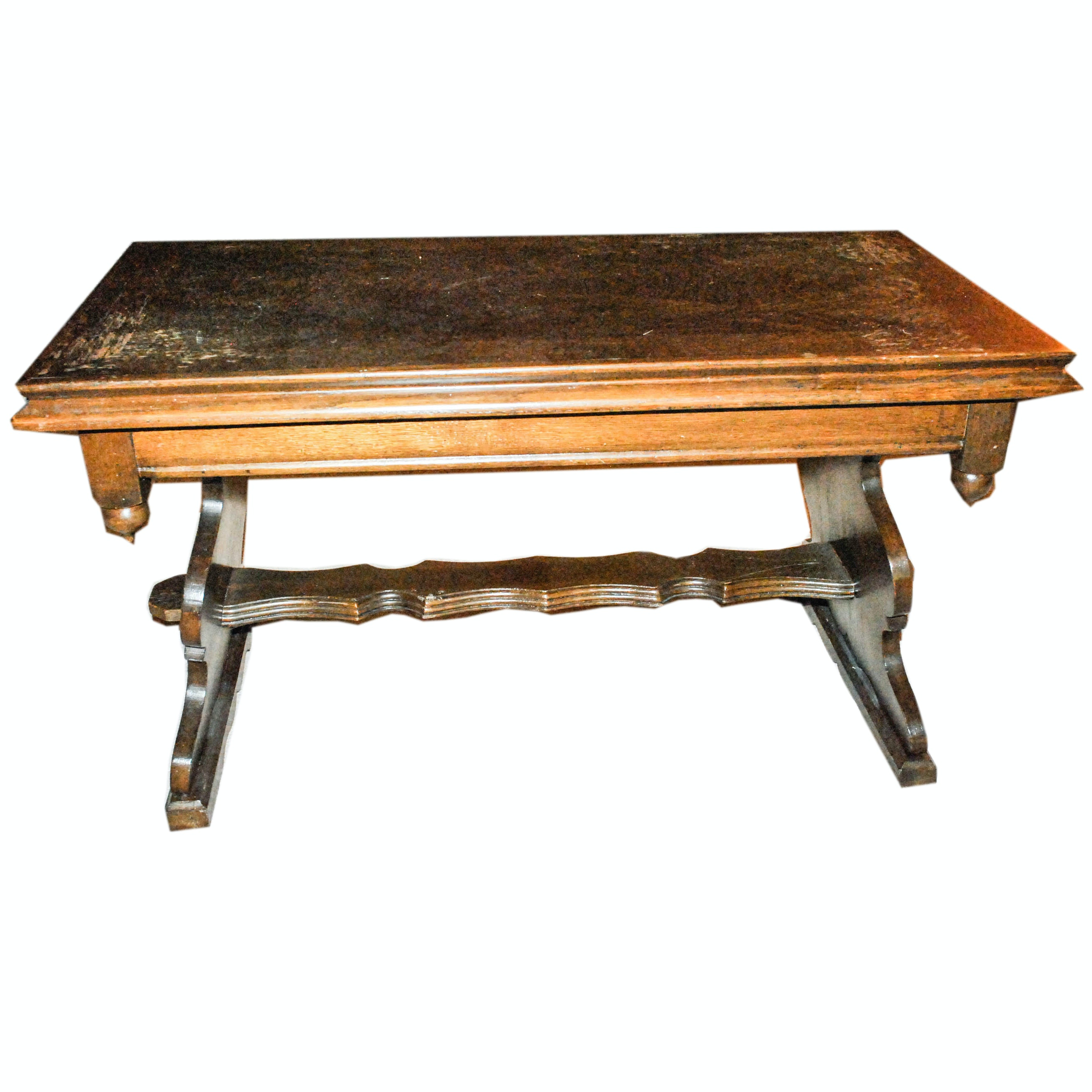 Dark Stained Oak Trestle Leg Coffee Table with Corner Drop Finials