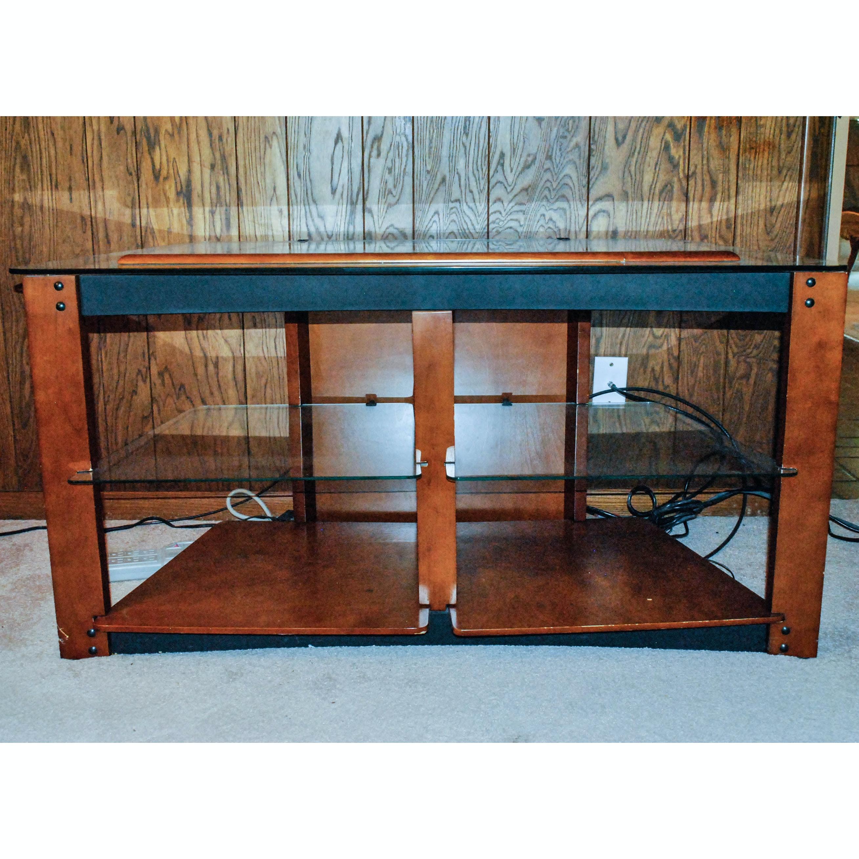Contemporary Glass Shelf Media Console