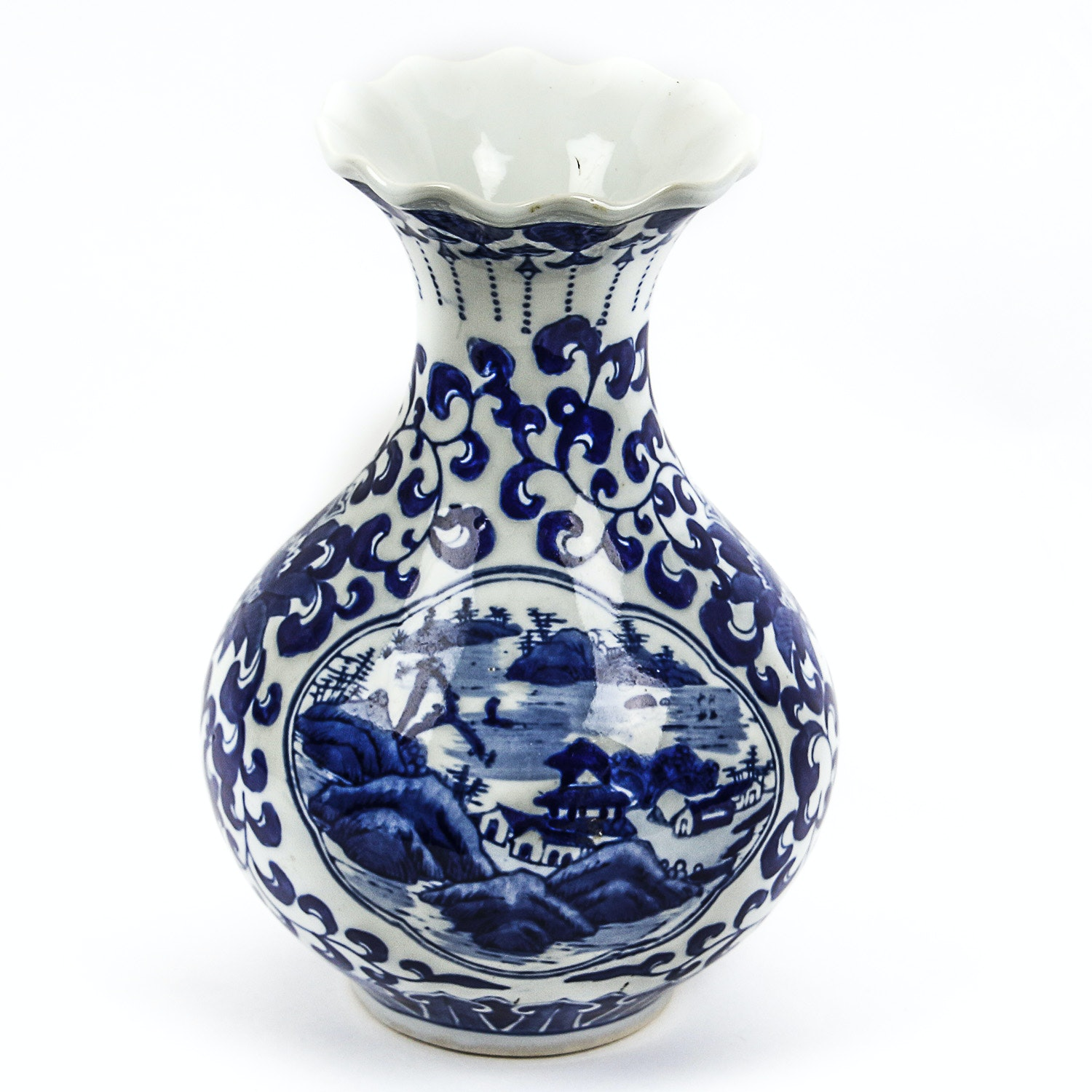 Chinese Hand-Painted Blue and White Porcelain Vase