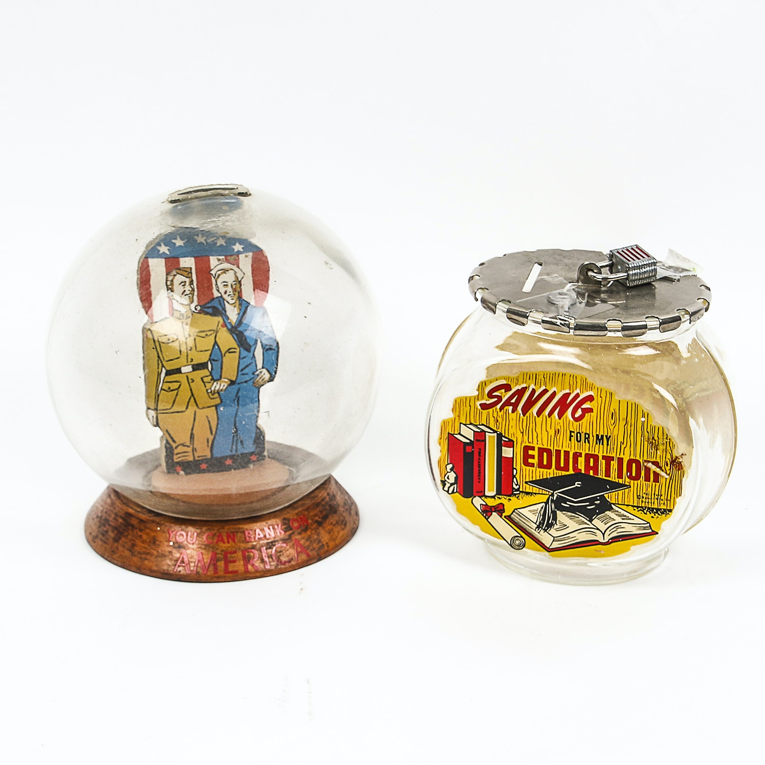 Vintage Military and Education Glass Bubble Banks