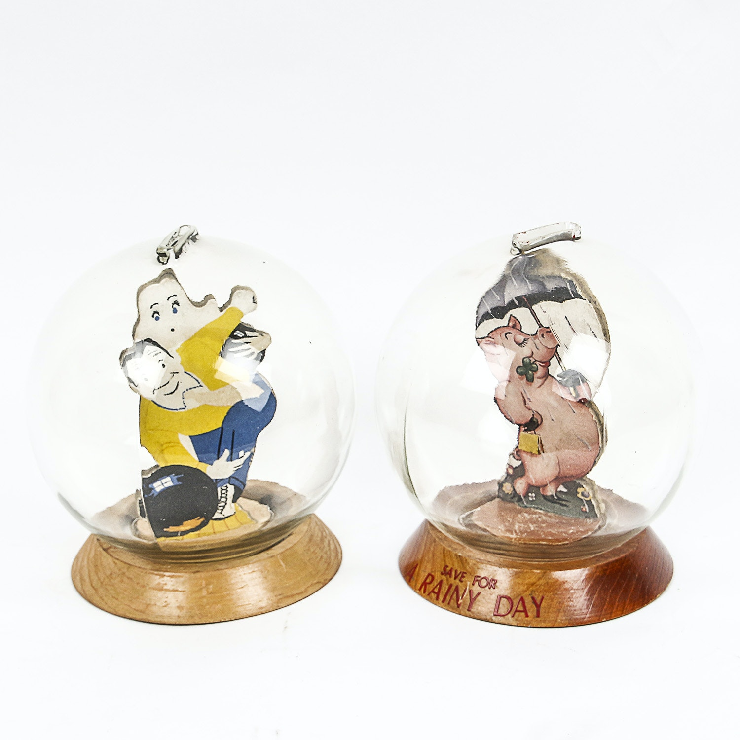 Vintage Bowling and Piggy Themed Glass Bubble Banks
