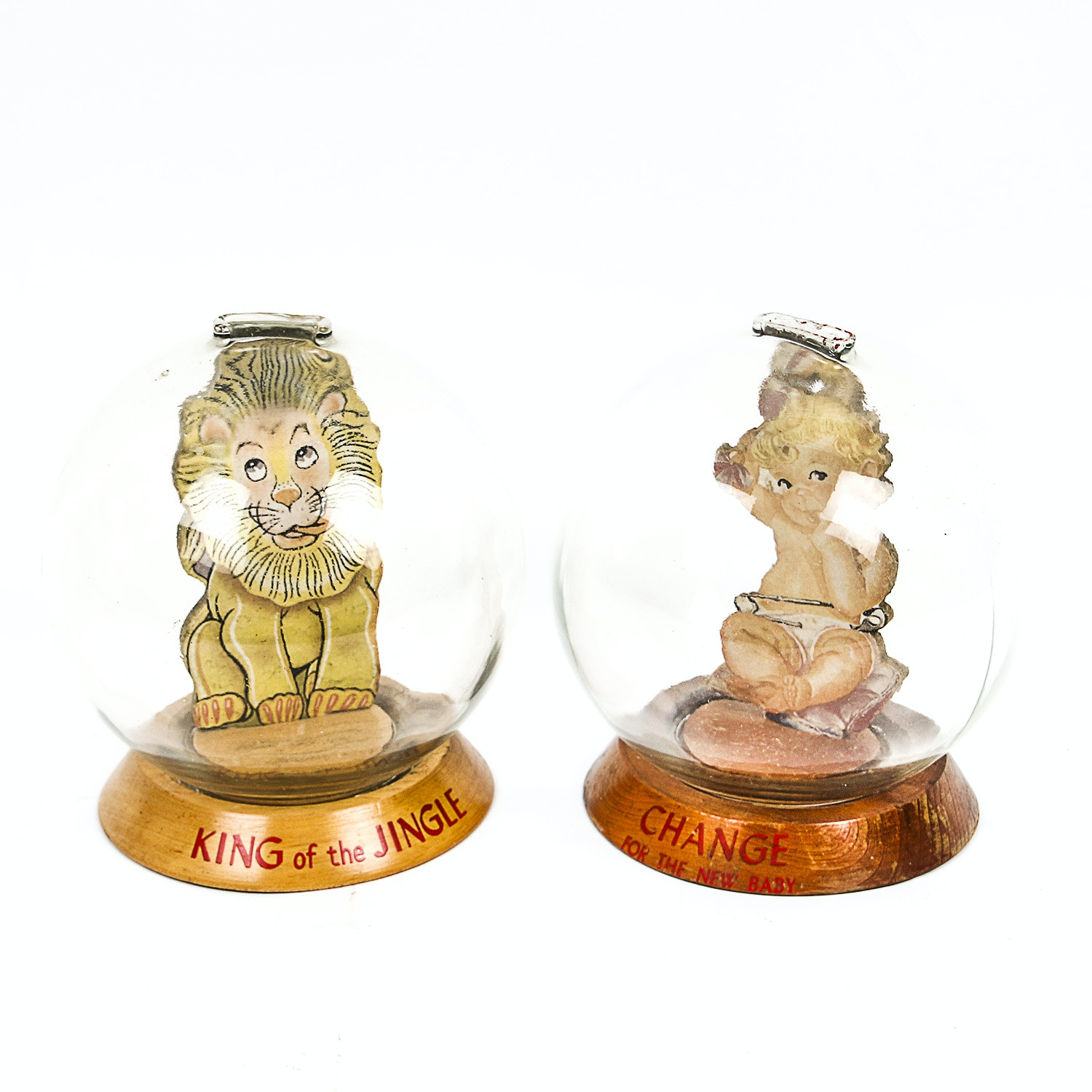 Vintage Lion and New Baby Themed Glass Bubble Banks