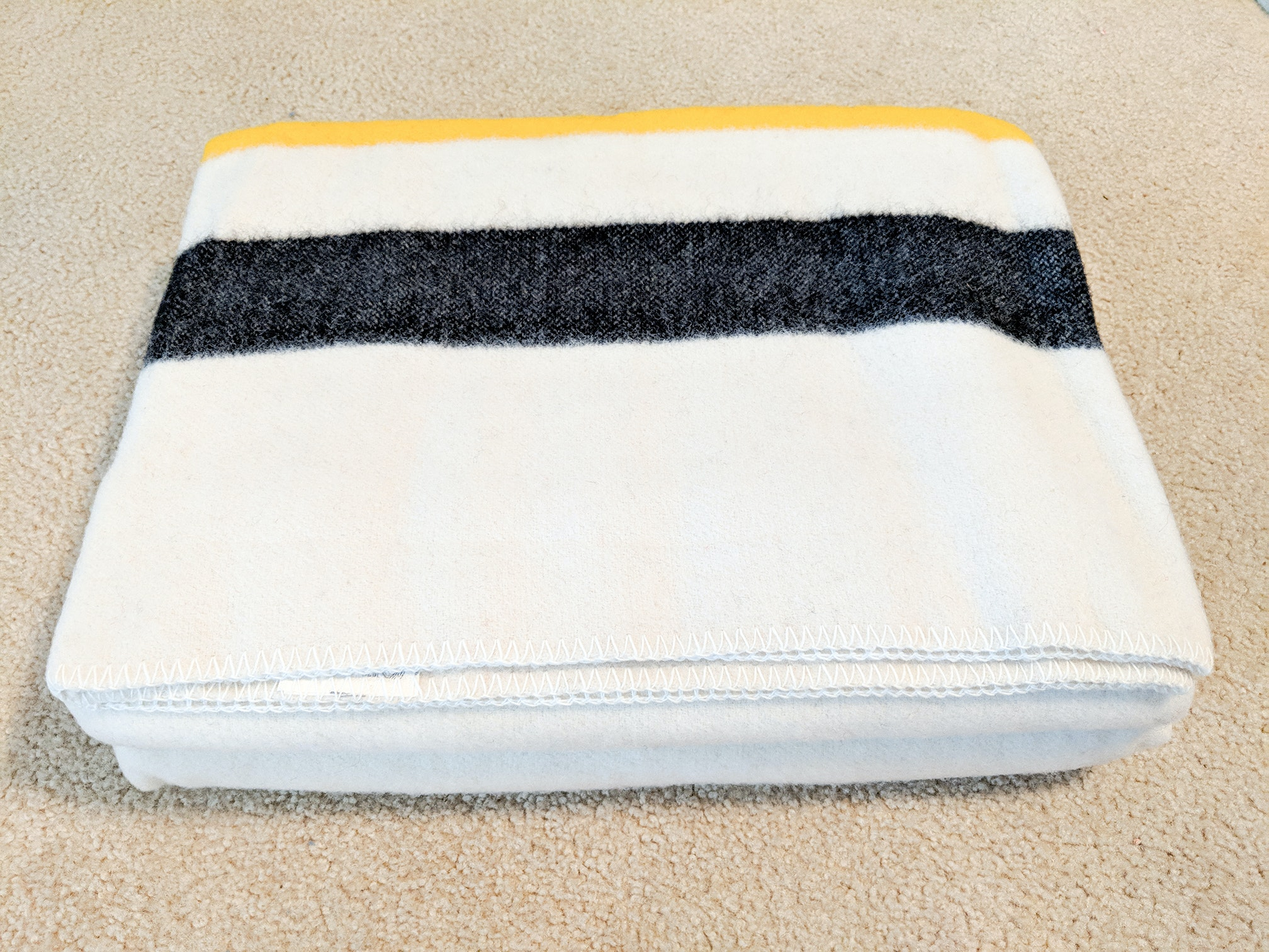 Two Matching Vintage Hudson's Bay Style Fabrino Wool Blankets