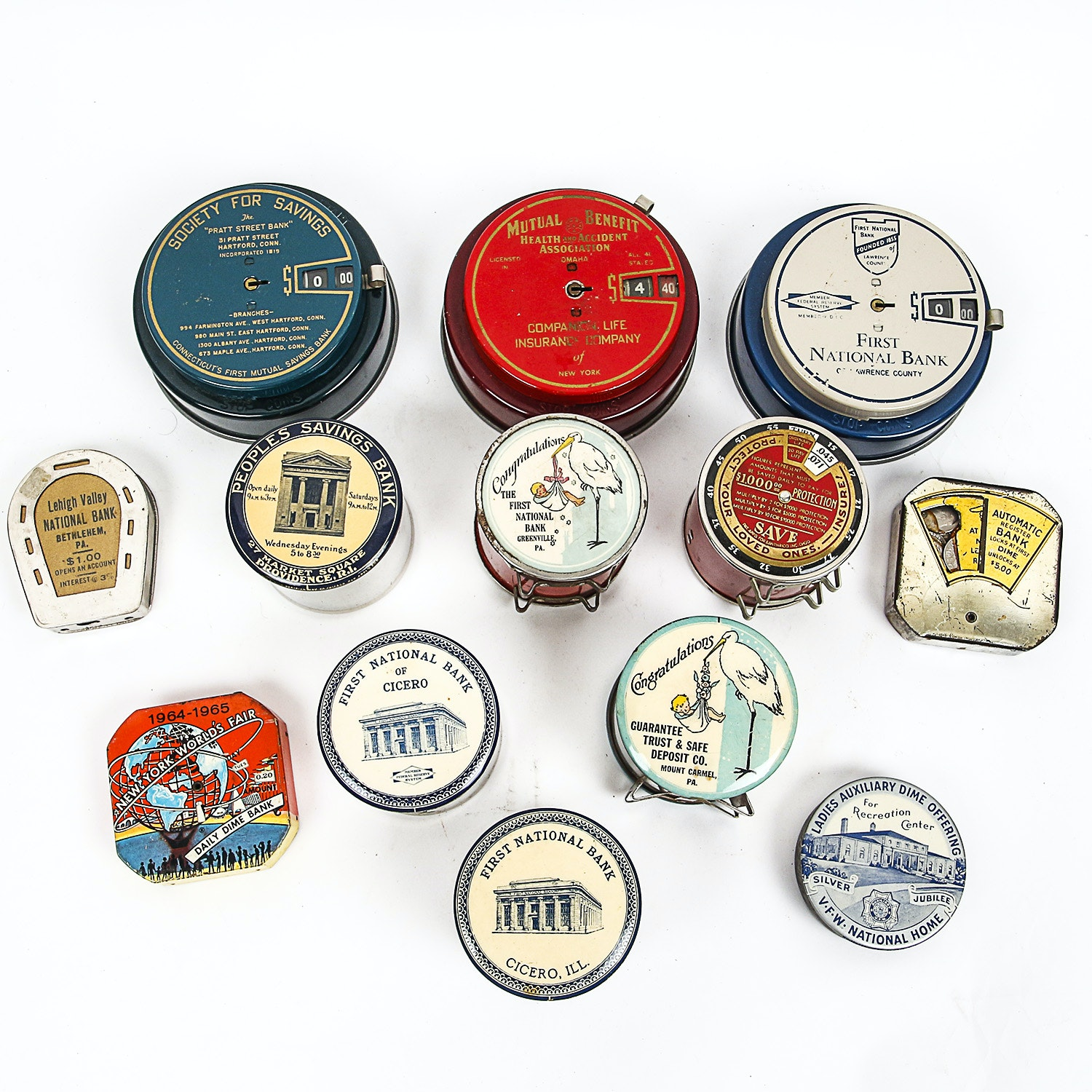 Vintage Metal Coin Banks, Including Add-A-Coin Banks and 1961