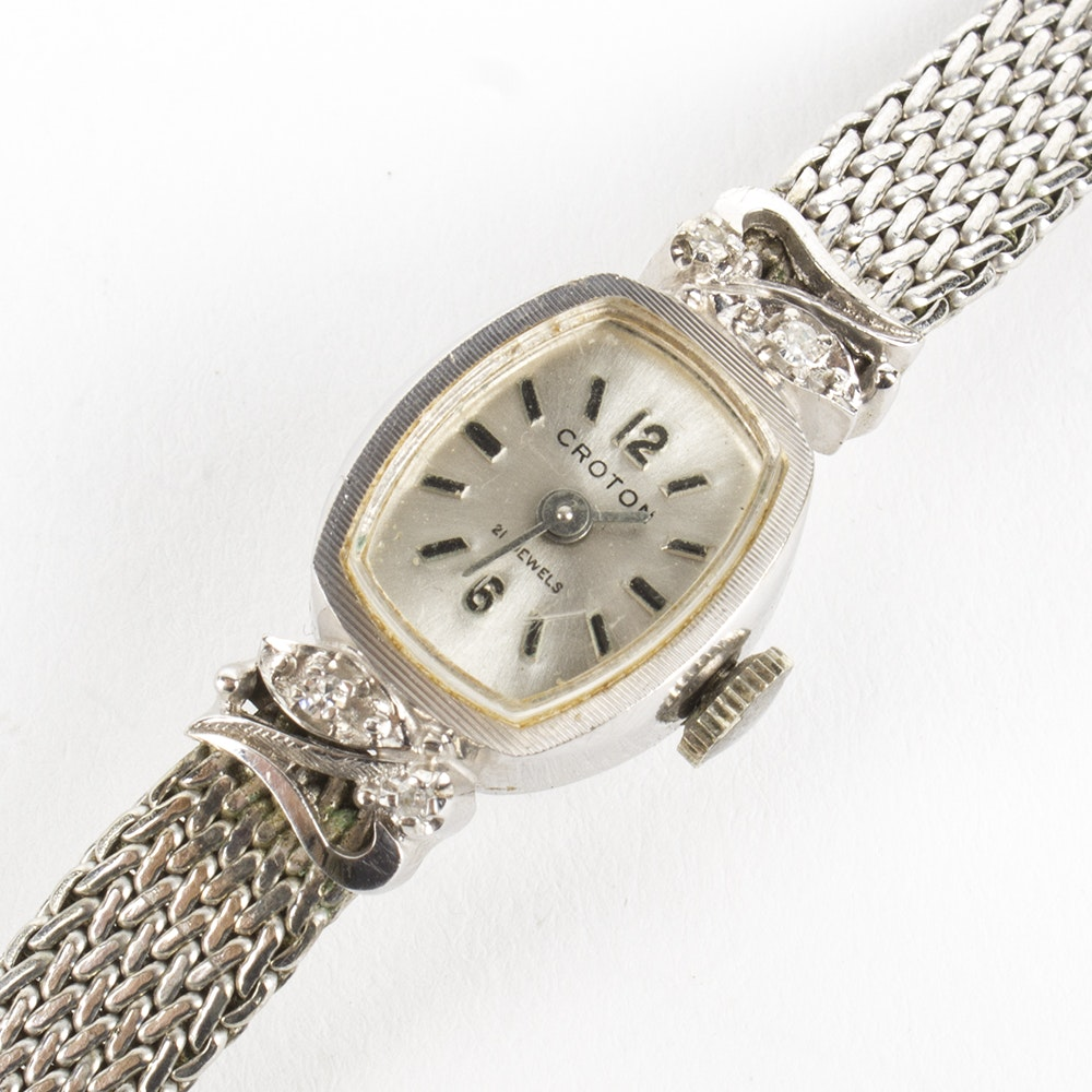 14K White Gold Diamond Croton Wristwatch