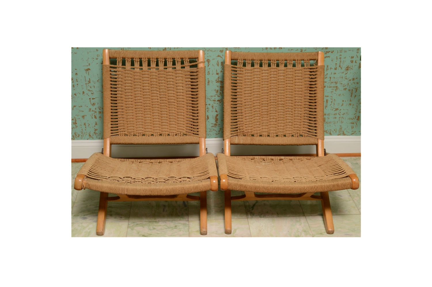 Wegner Style Folding Rope Chairs, Late 20th Century