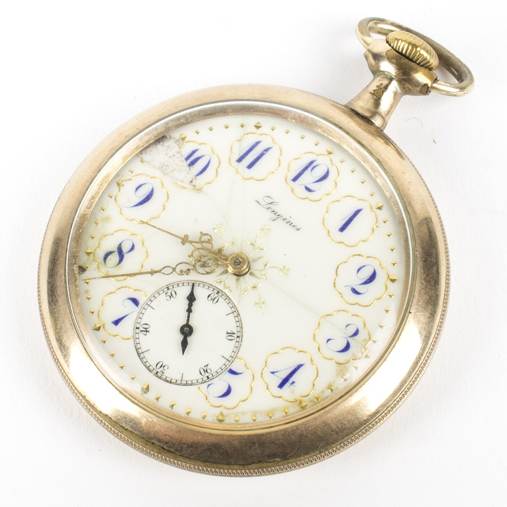 Longines Open Face Gold Filled Pocket Watch