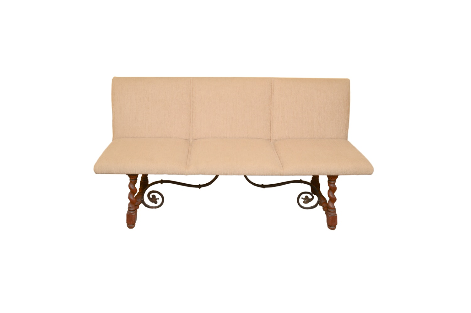 Upholstered Wood and Metal Bench, Late 20th Century