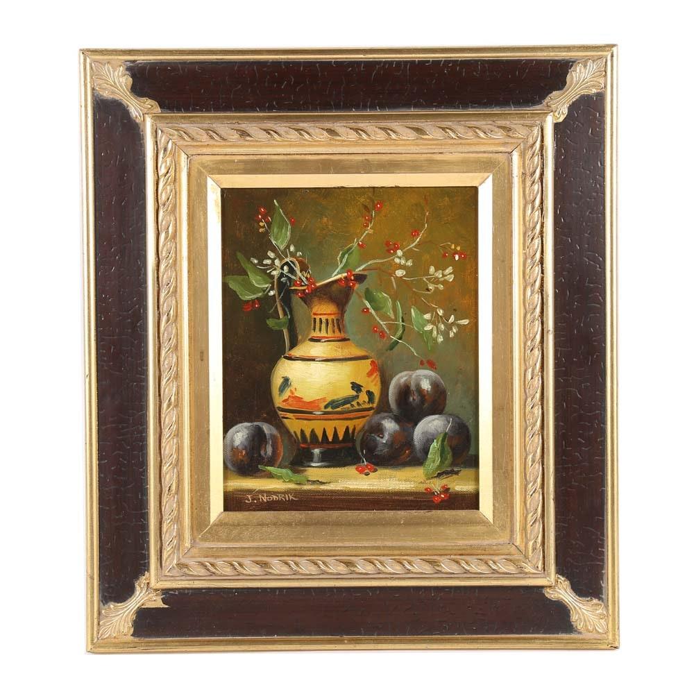 J. Nodrik Oil on Canvas Painting
