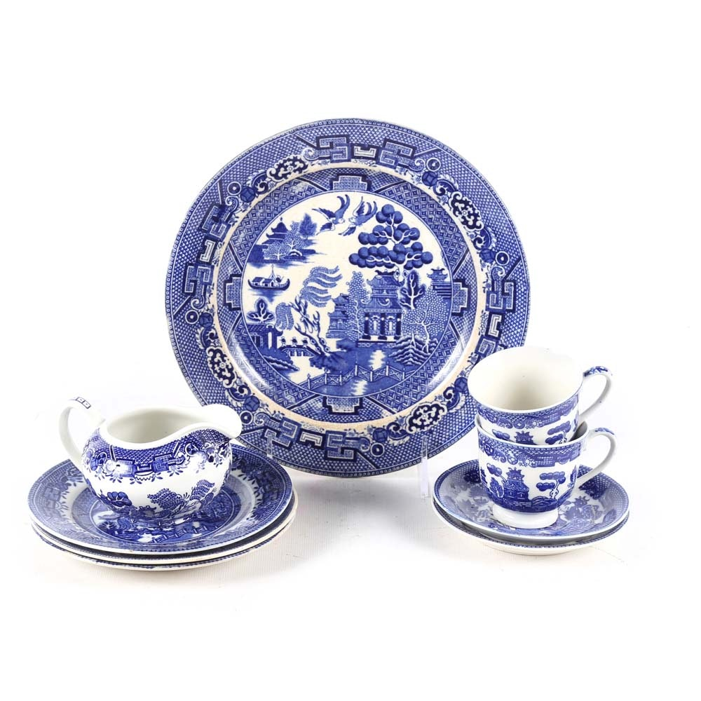 Assortment of Blue and White Willow Tableware