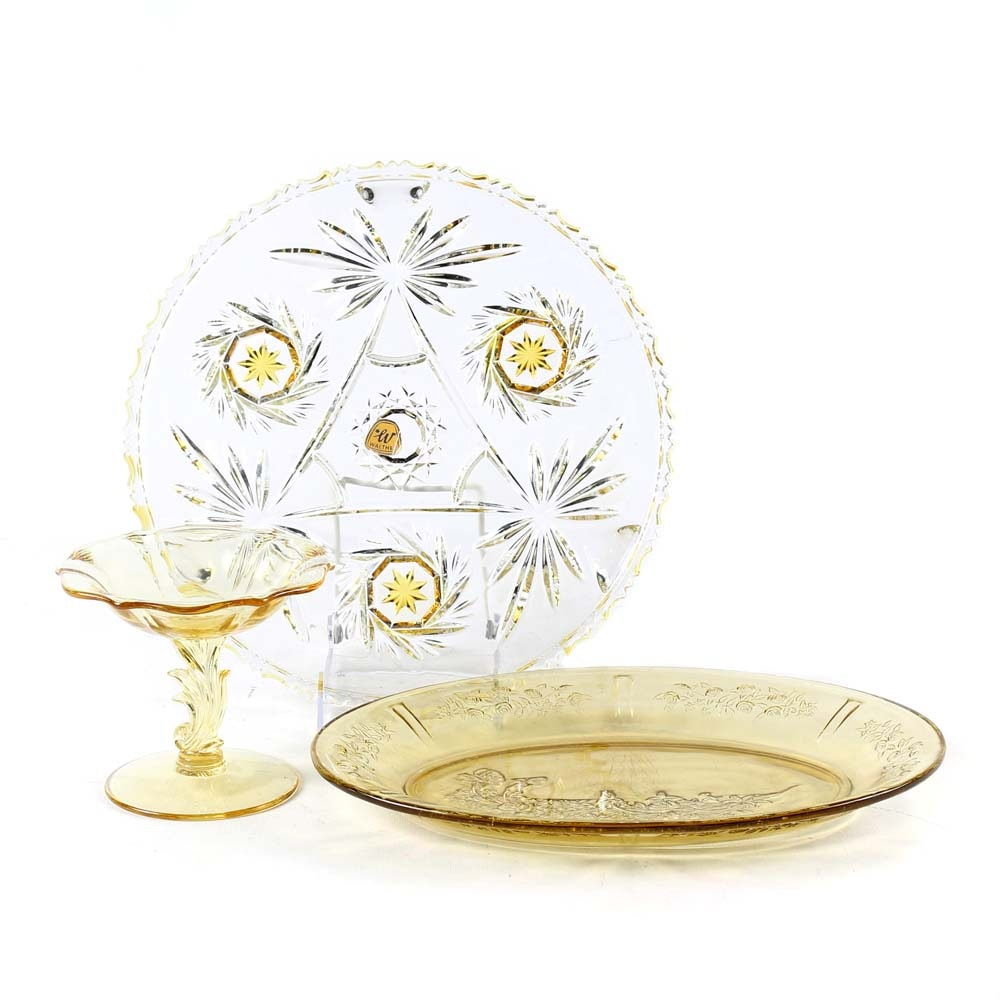 Vintage Yellow Glass Tableware Featuring Walther Glass