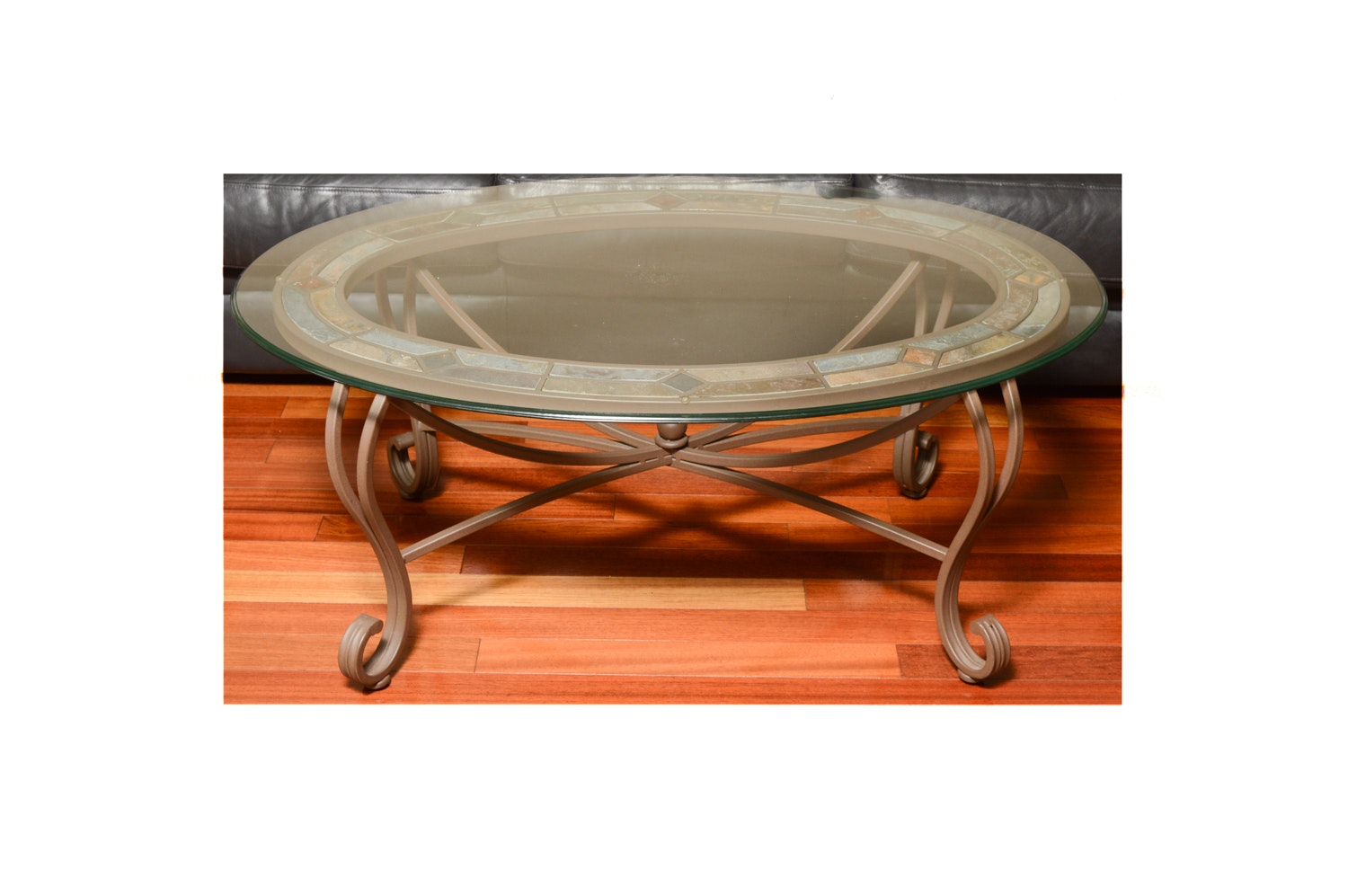 Contemporary Glass Top Coffee Table with Tile Inlay
