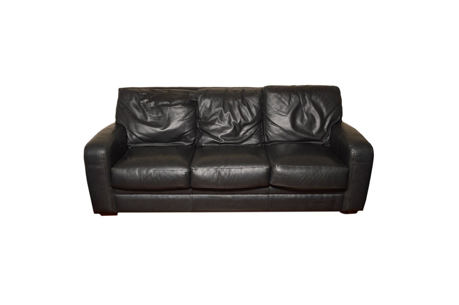 Contemporary Navy Leather Sofa by Klaussner