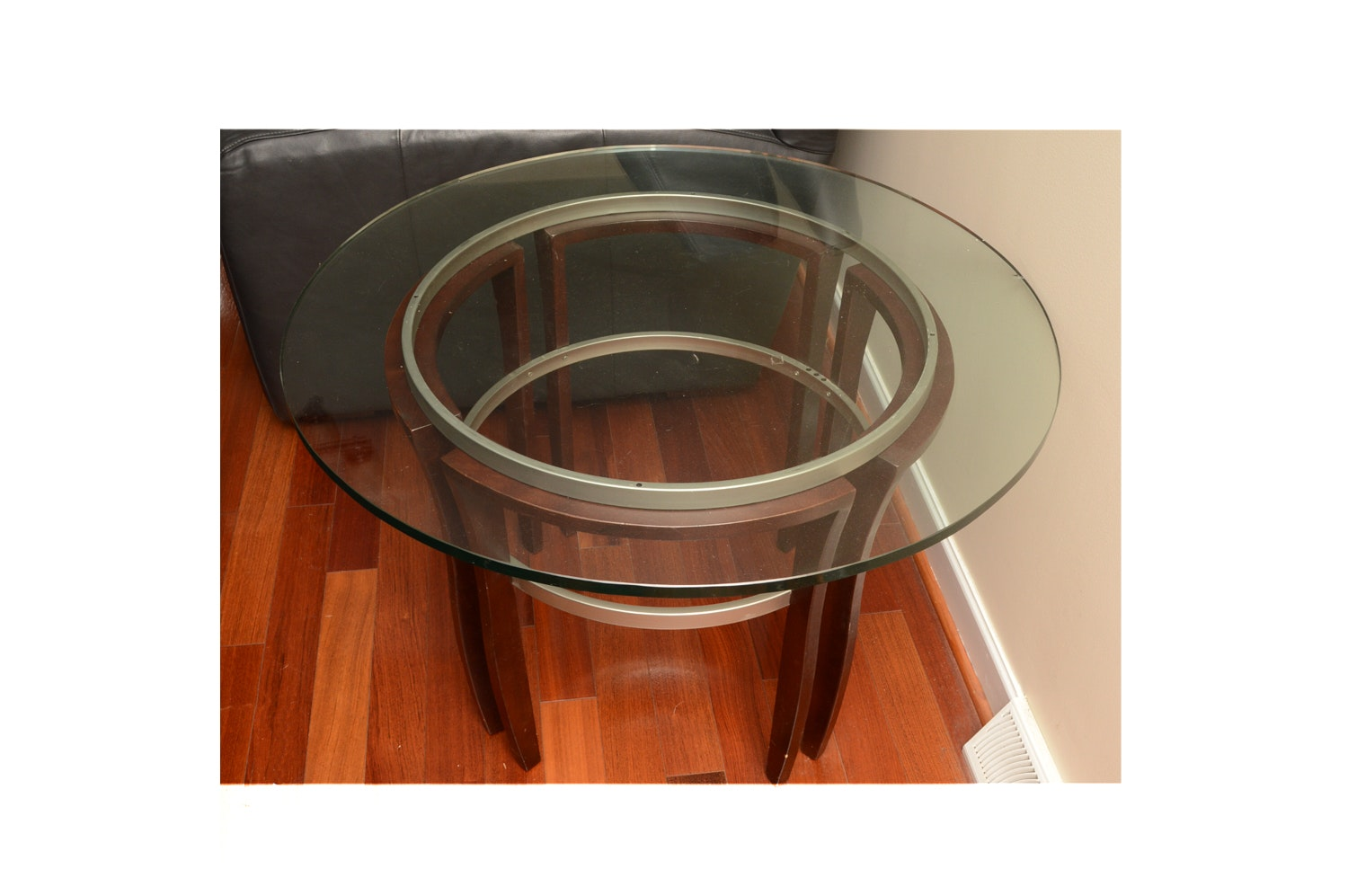 Contemporary Round Glass Top Accent Table