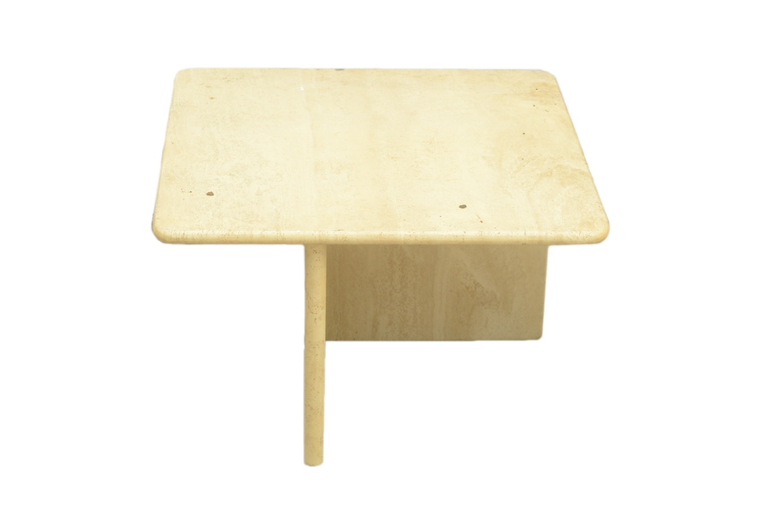 Contemporary Beige Stone Cocktail Table with L-Shaped Base