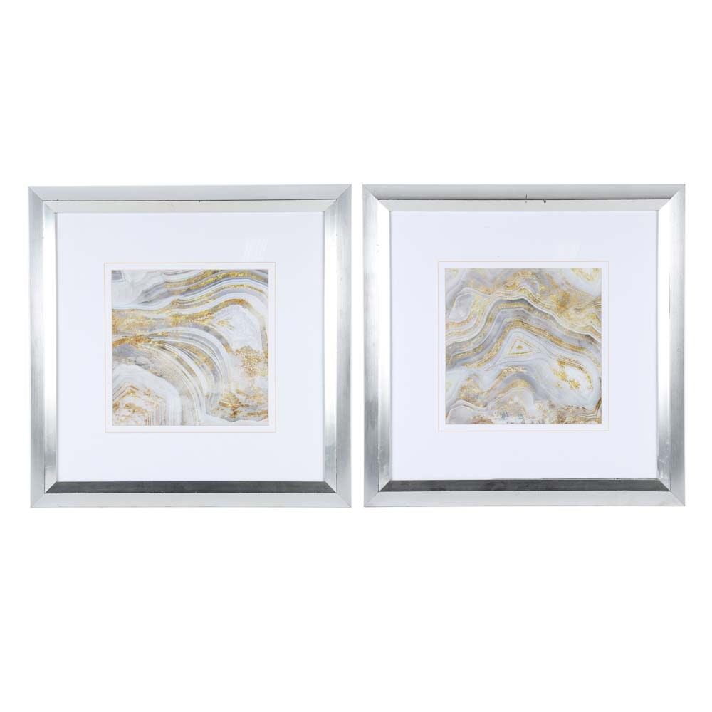 Pair of Agate Offset Lithographs