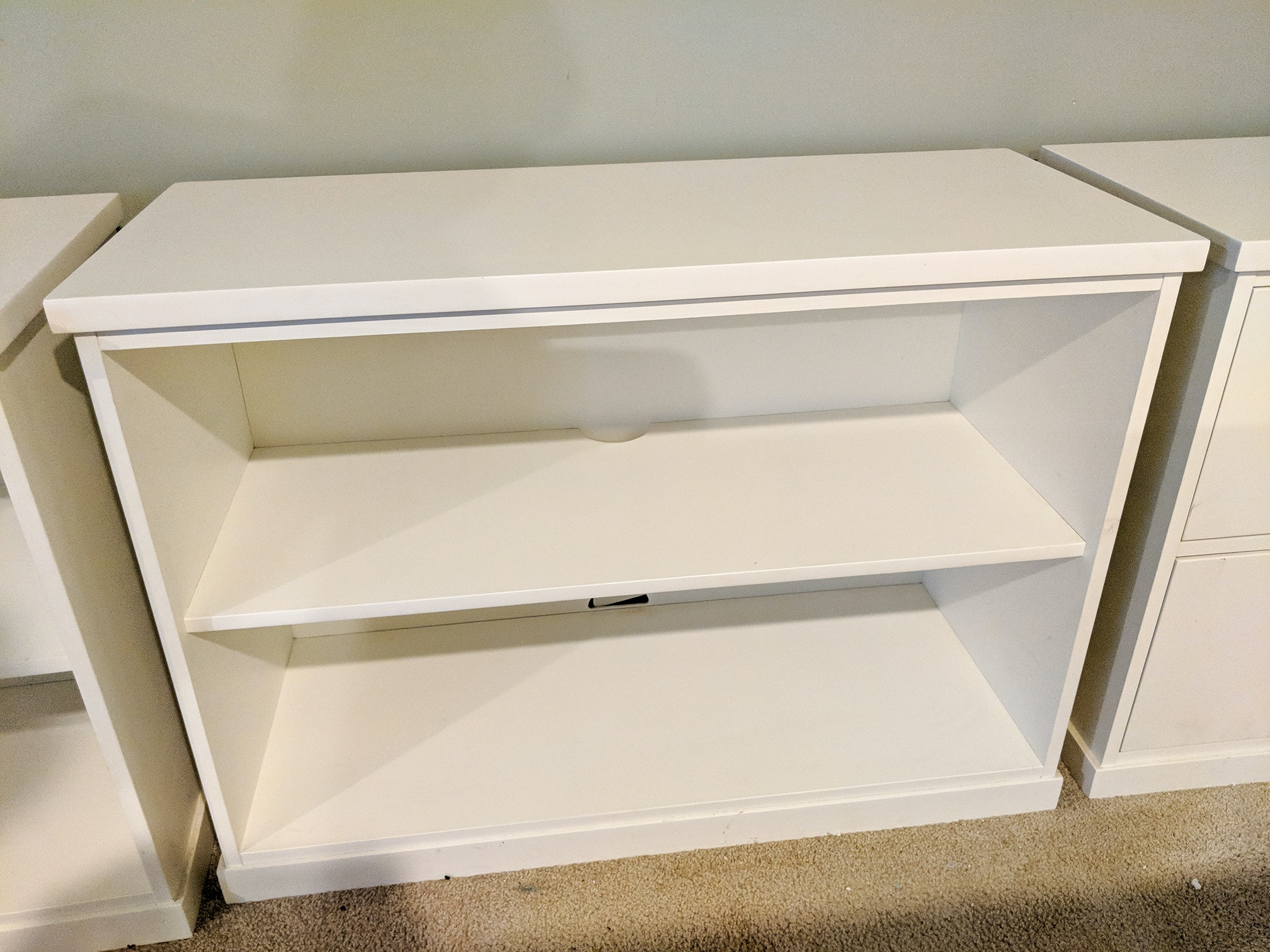 Pottery Barn White Bookshelves and Lateral File