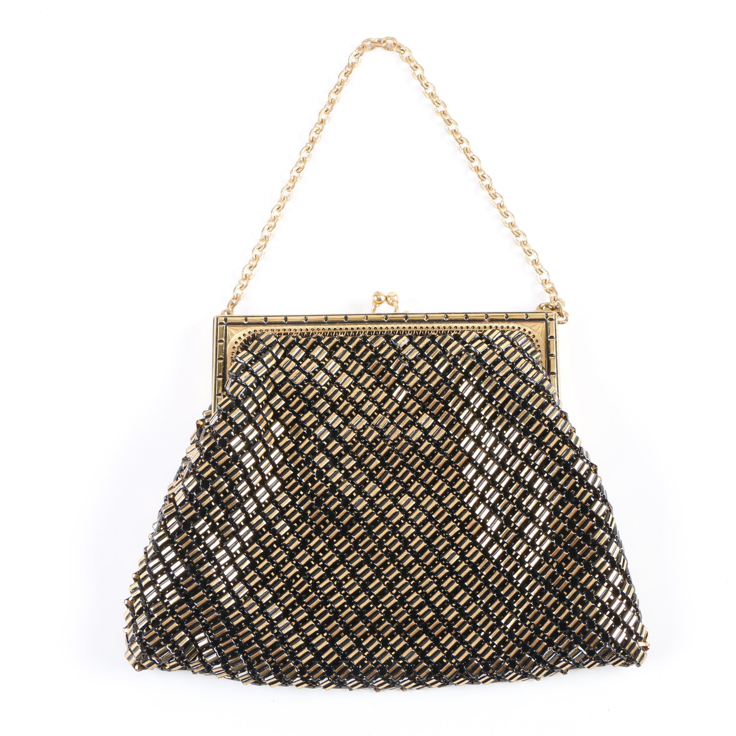 Vintage Whiting & Davis Co. Gold Tone Mesh Bag with Original Box